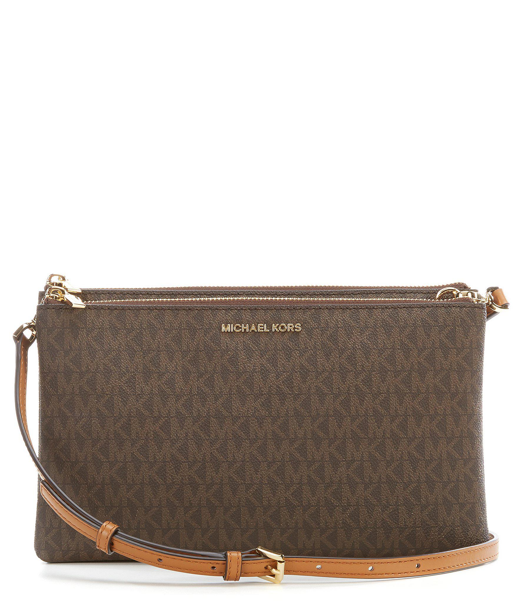62b10e1d3d0b MICHAEL Michael Kors Adele Double-zip Cross-body Bag in Brown - Lyst