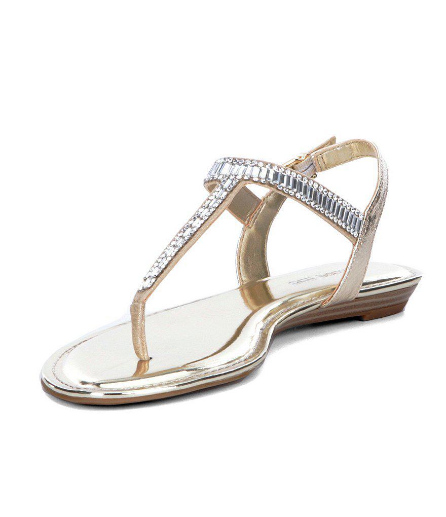 Precious Metallic Fabric Jeweled T-Strap Sandals VdiIC4DmHV