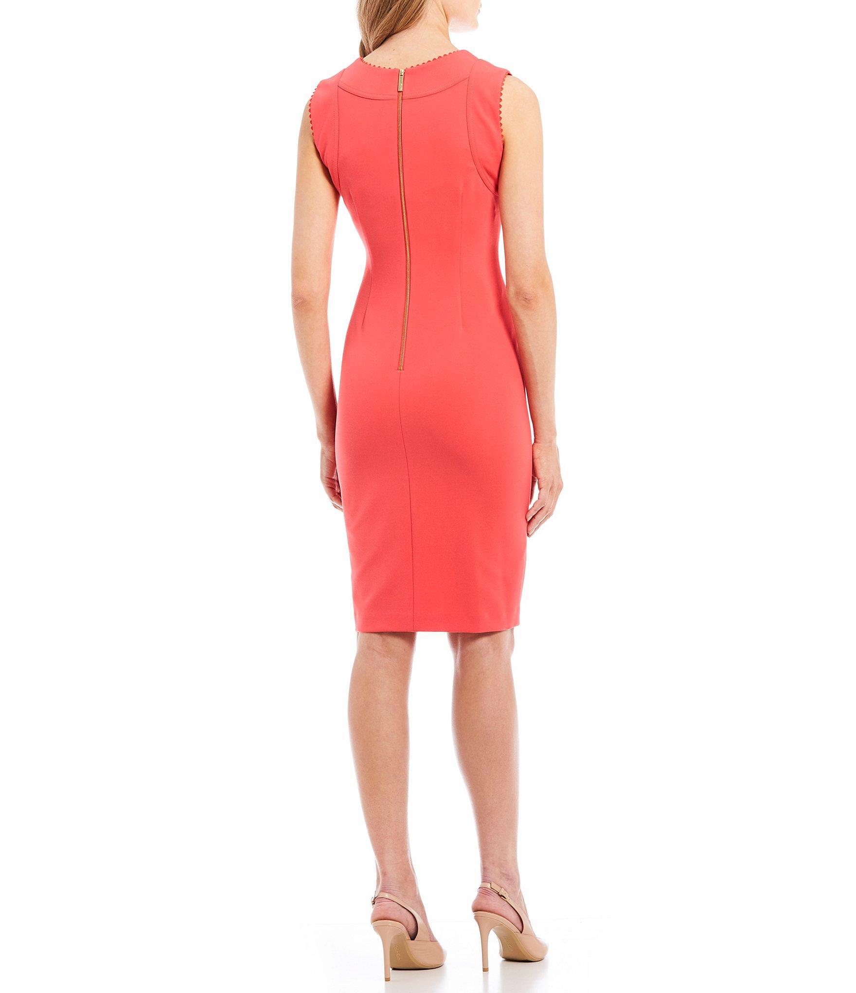 9bb122acc5e Calvin Klein - Red Sleeveless Sheath Dress - Lyst. View fullscreen