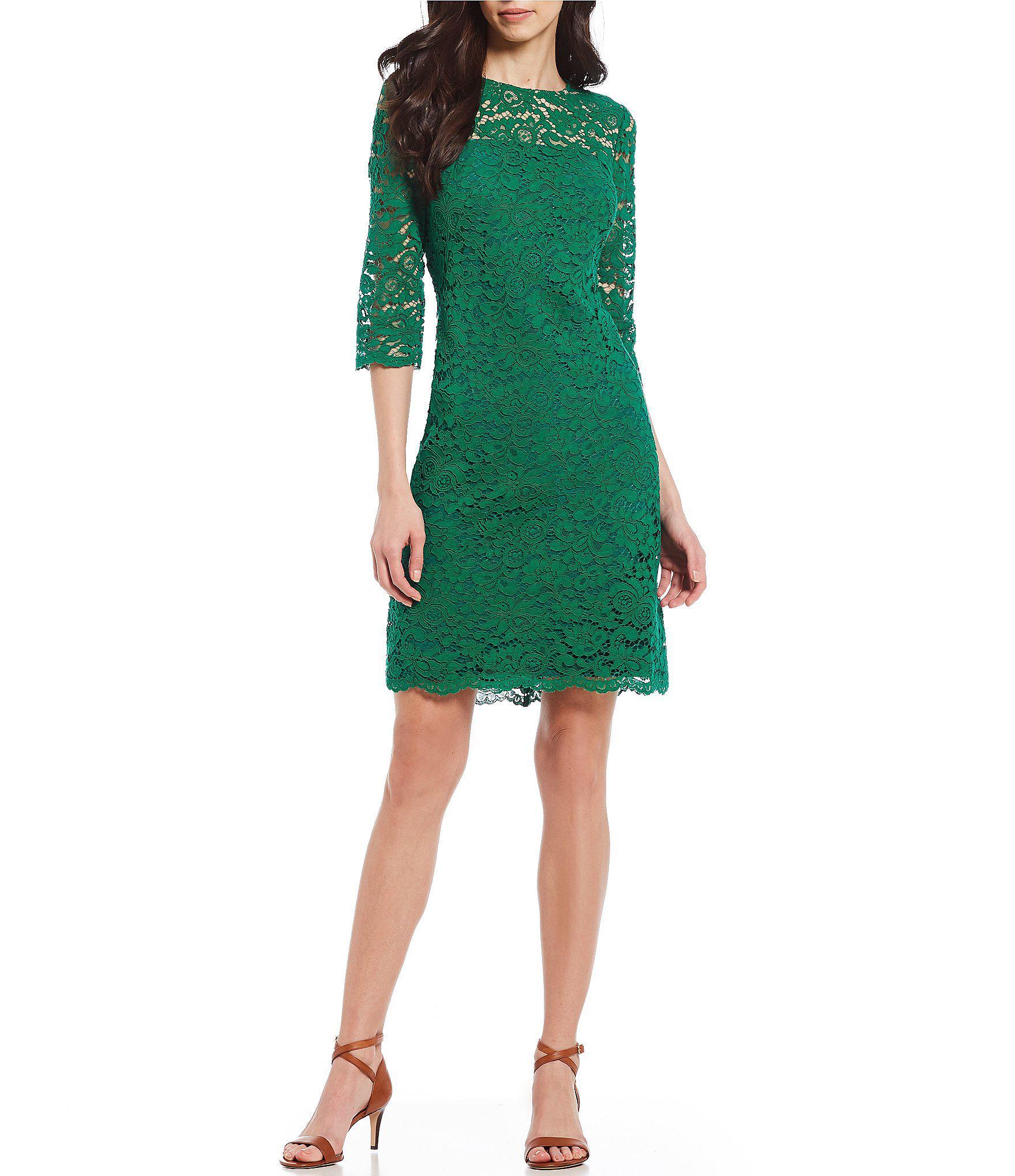 6badb6121a8 Lyst - Lauren By Ralph Lauren Lace Sheath Dress in Green