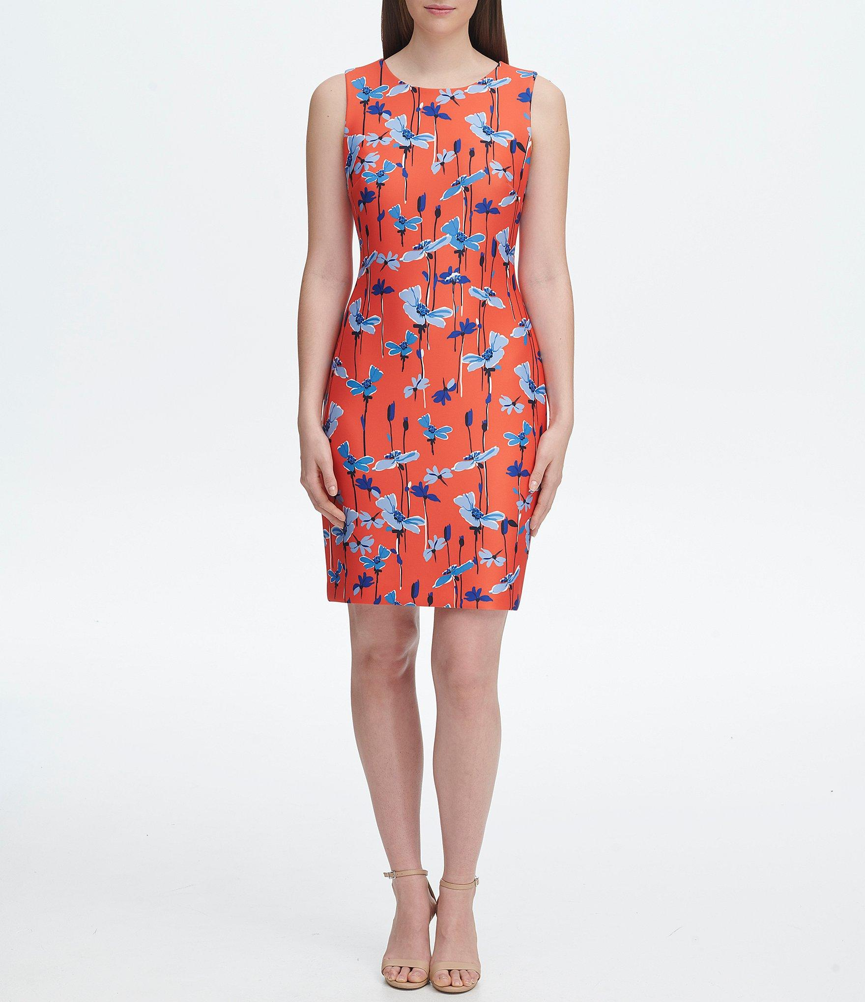 d4460a71a Lyst - Tommy Hilfiger Scuba Floral Sleeveless Sheath Dress in Red