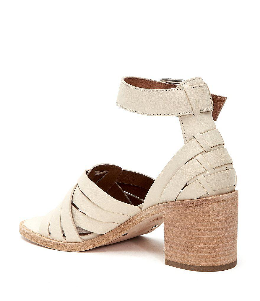 378643cc6760e Lyst - Frye Bianca Huarache 2 Piece Leather Sandals in White