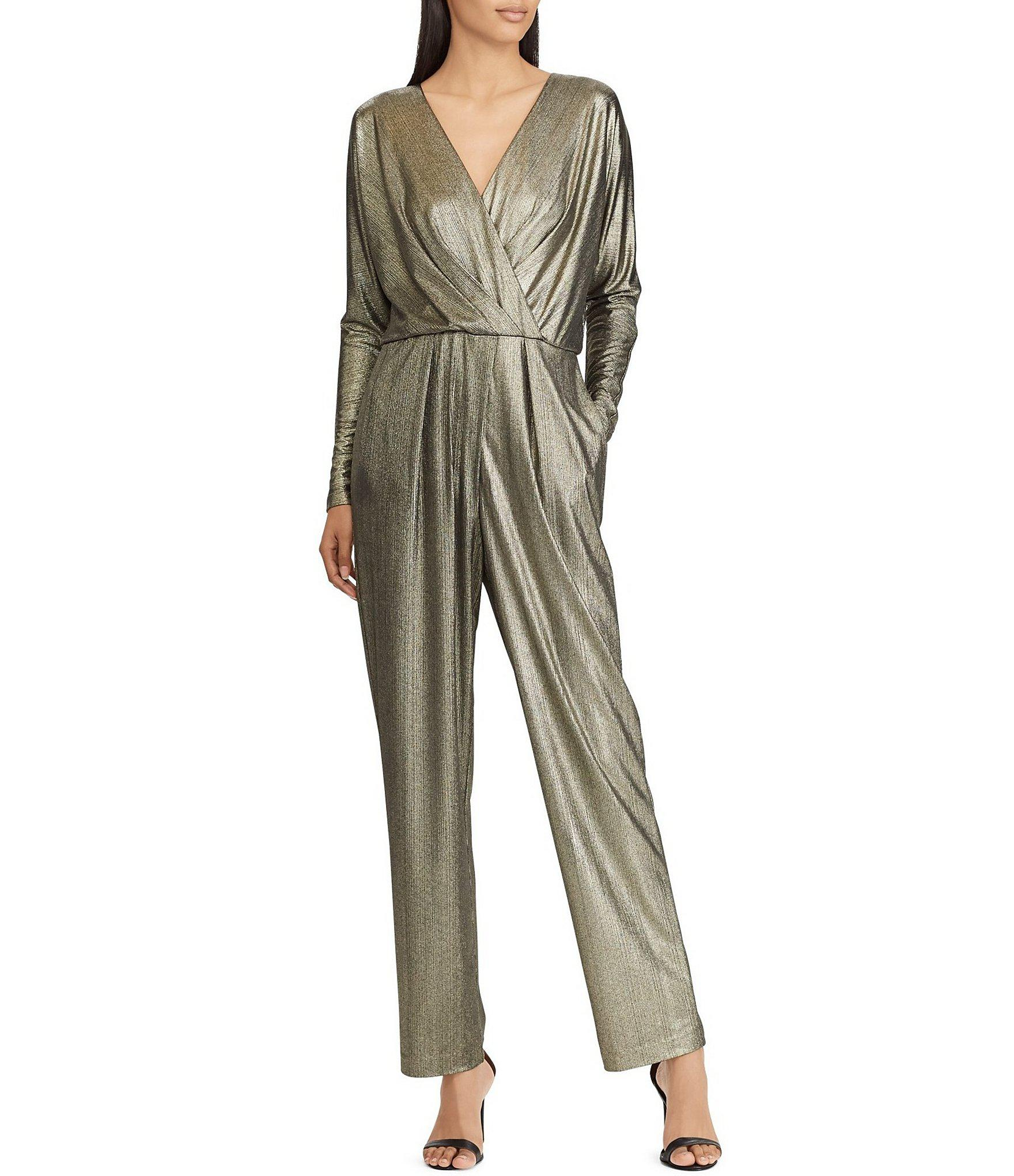 d46571900a0 Lauren by Ralph Lauren Metallic Knit Surplice V-neck Jumpsuit - Lyst