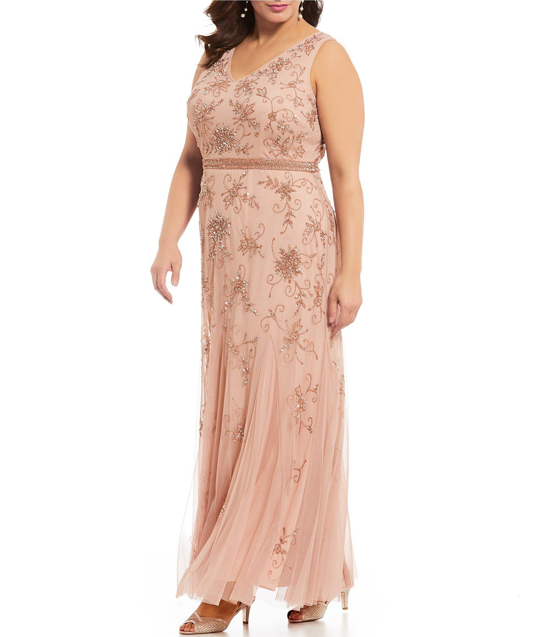 78dfdb0c96134 Lyst - Adrianna Papell Plus Size Long Beaded Cape Dress in Pink