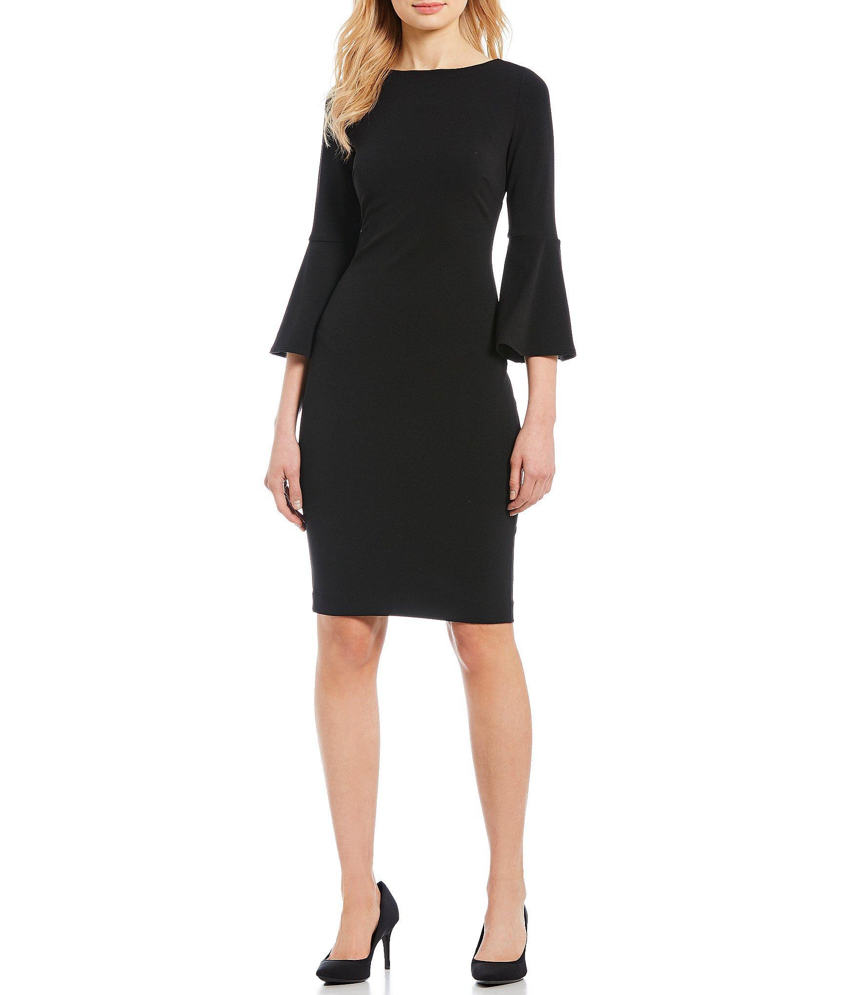 9b495c304a5 Lyst - Calvin Klein Bell-sleeve Sheath Dress in Black - Save 35%