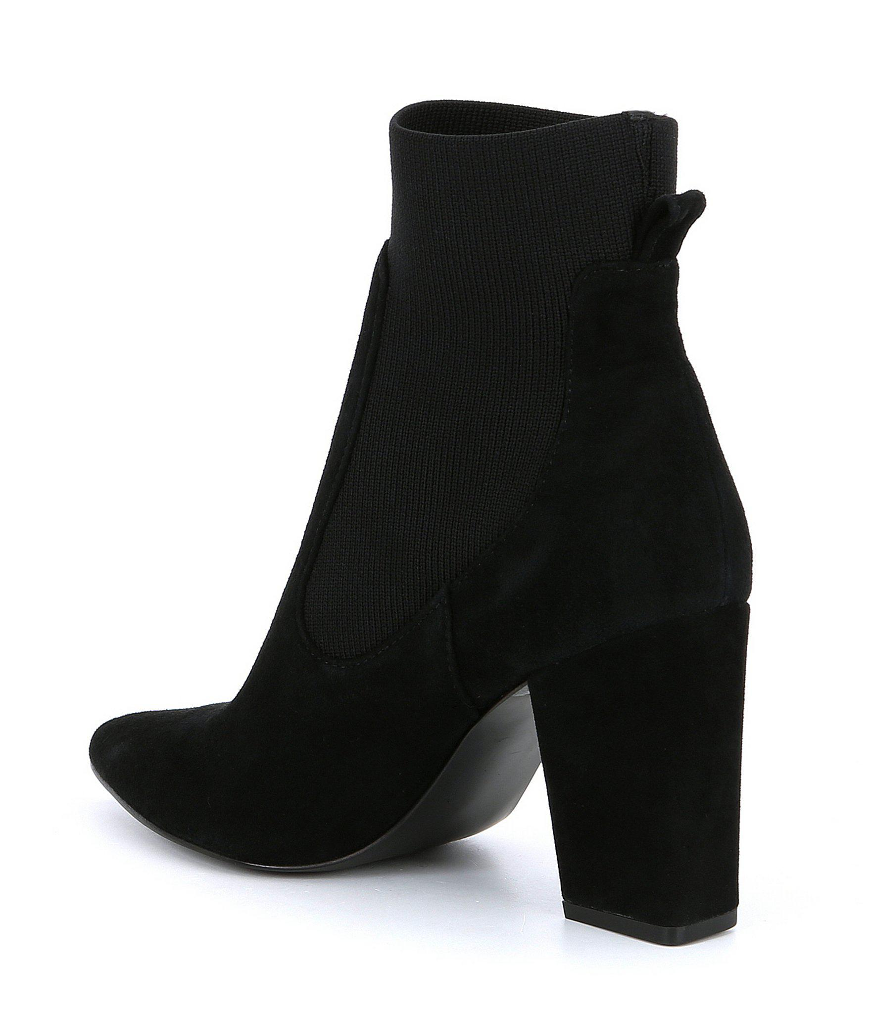 726d7c380d4 Lyst - Steve Madden Richter Suede Block Heel Booties in Black