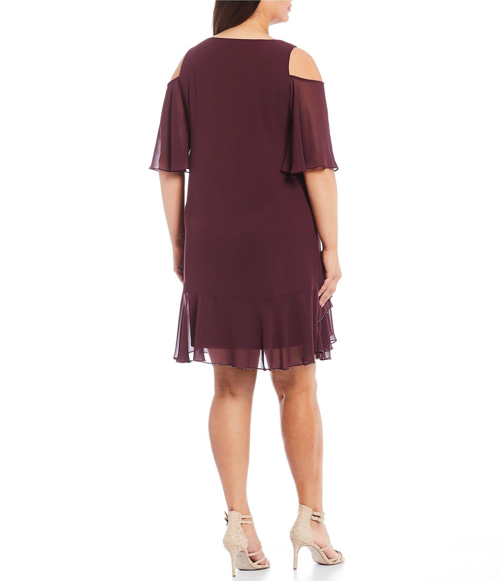 31702b9a21 Marina - Purple Plus Size Chiffon Cold Shoulder Tiered Dress - Lyst. View  fullscreen