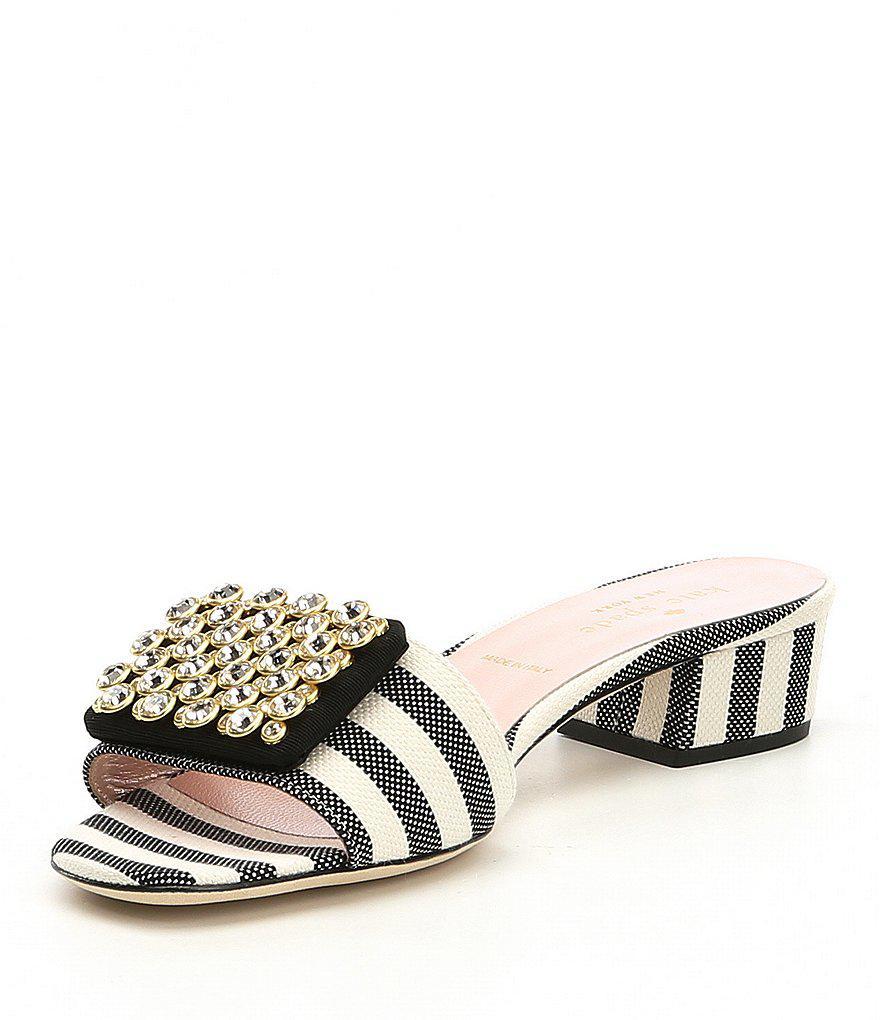 kate spade new york Mazie Canvas Jeweled Ornament Block Heel Slide Sandals KcfIZU