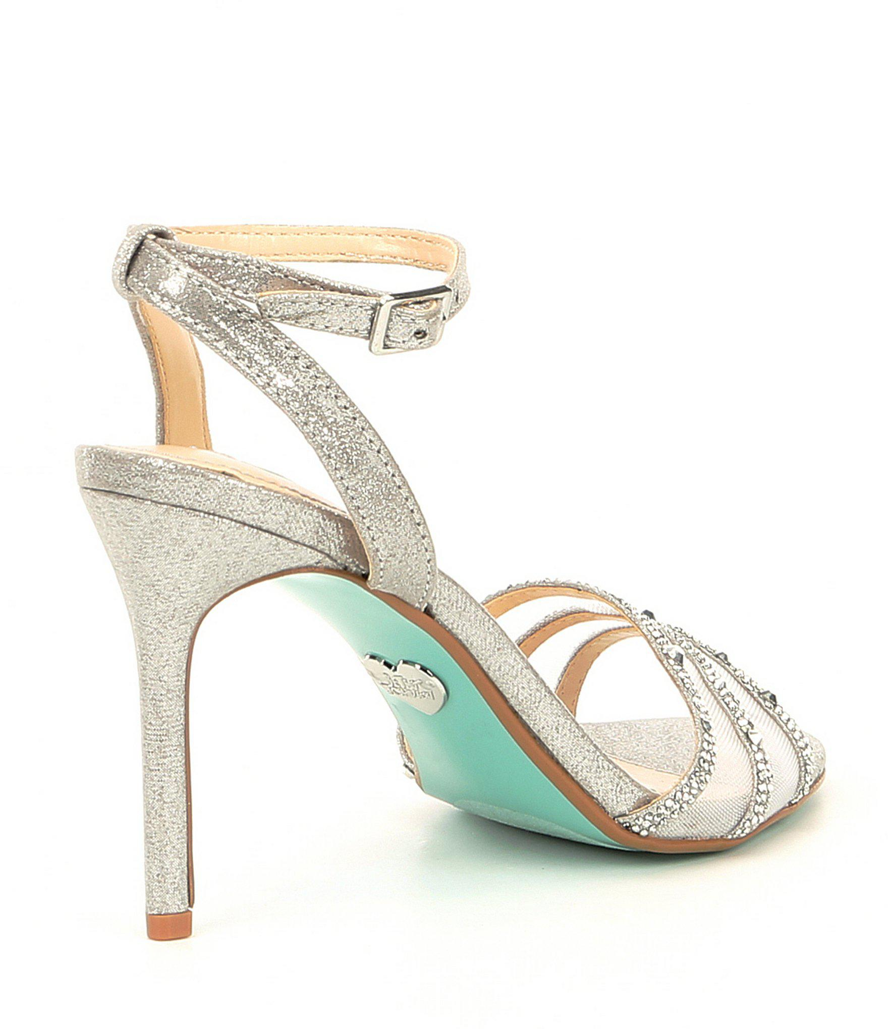 804b64a7d97 Betsey Johnson - Metallic Blue By Veda Jeweled Mesh Dress Sandals - Lyst.  View fullscreen