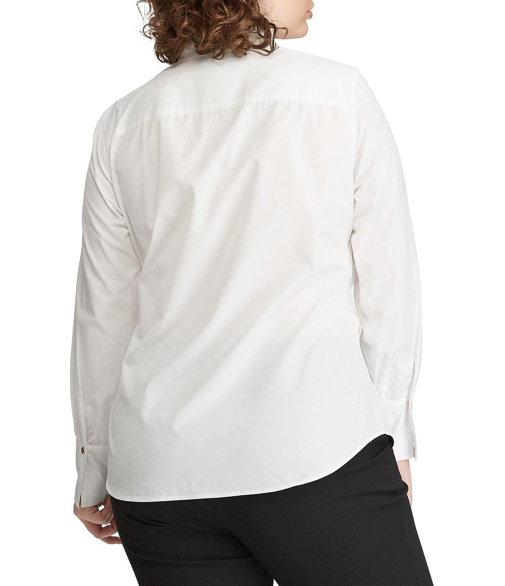 ad9ae443b4a Lauren by Ralph Lauren - White Plus Size Tie-front Button Front Collared  Cotton Shirt. View fullscreen