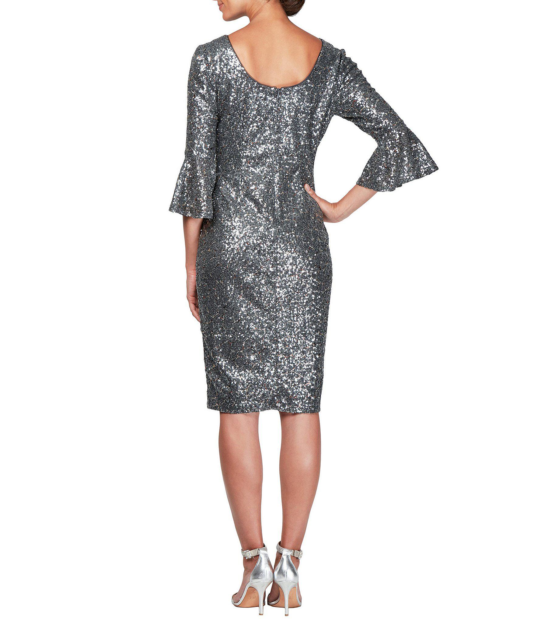 778105ce601 Lyst - Alex Evenings Petite Size Bell Sleeve Metallic Sequin Sheath ...