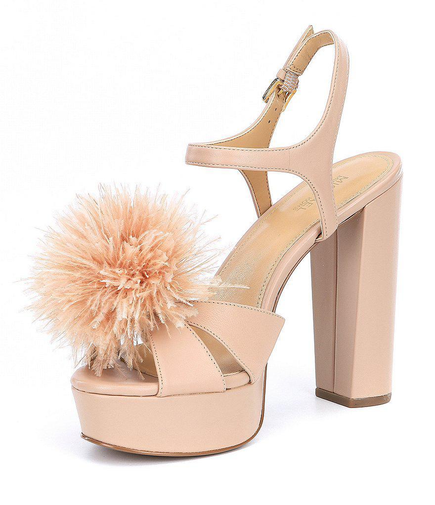 MICHAEL Michael Kors Fara Glitter Pom Pom Detail Platform Dress Sandals KbDiy