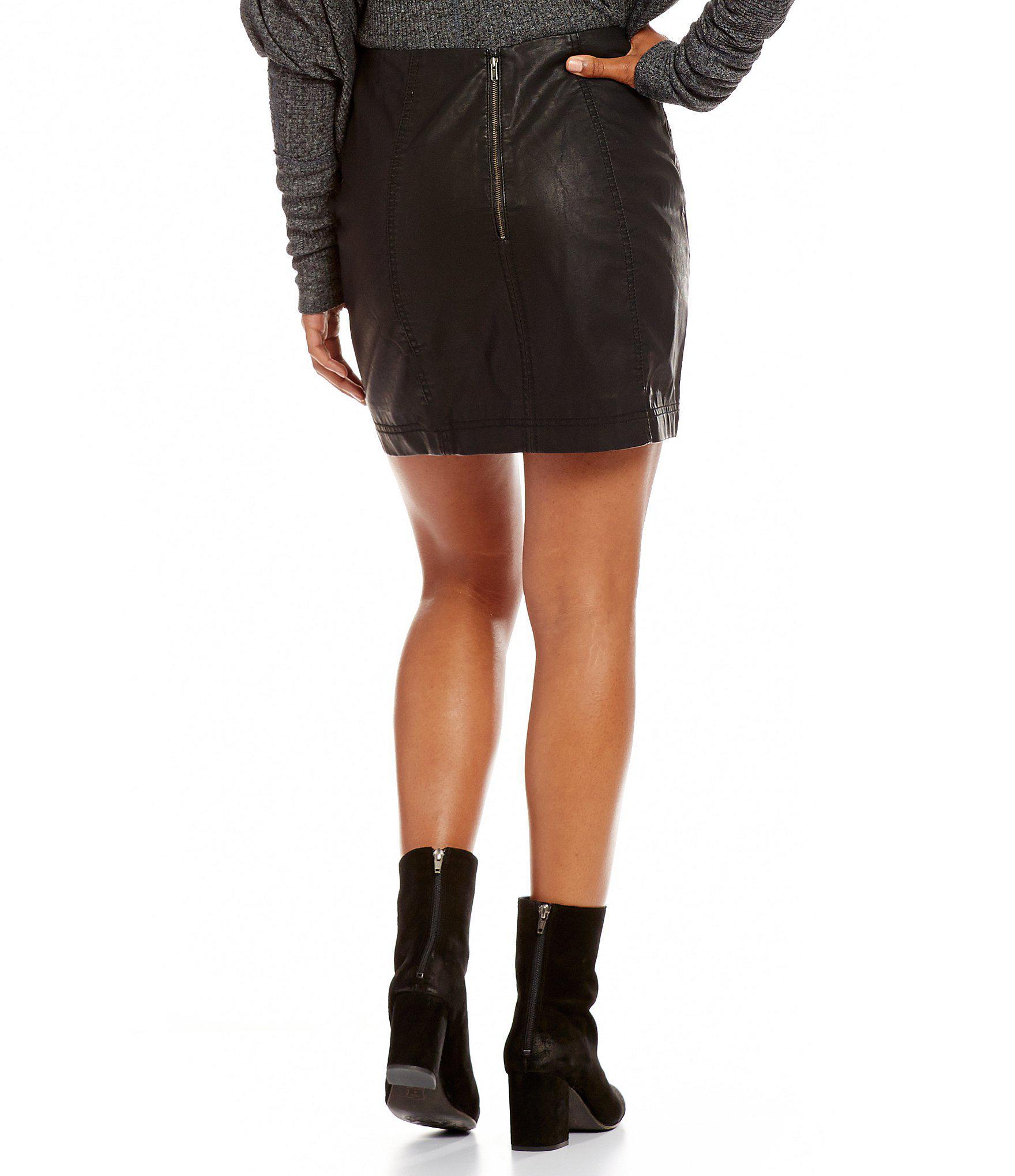 46dbd81dfa Free People Modern Femme Vegan Faux Leather Mini Skirt in Black - Lyst