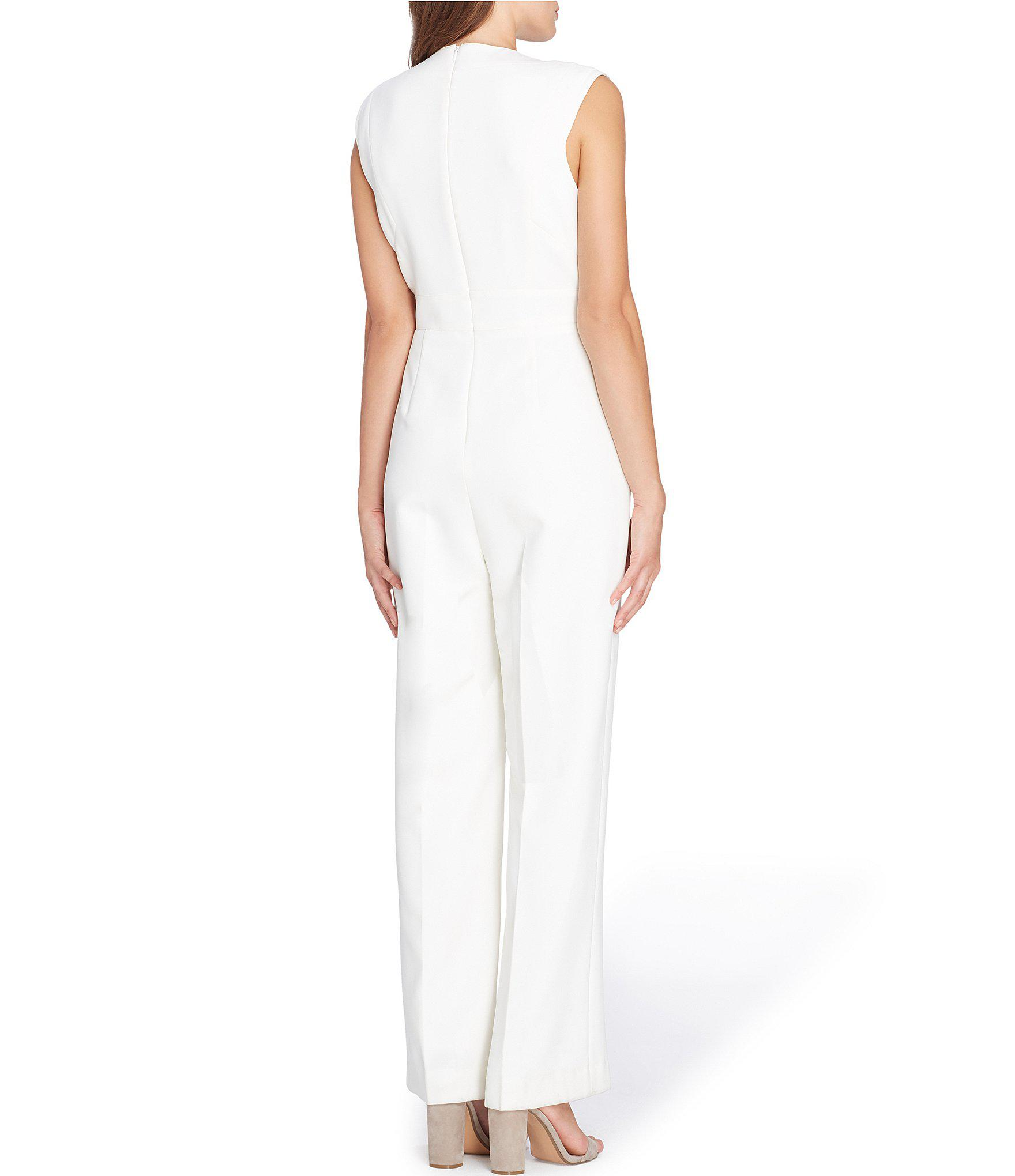 77dd0b20e99 ... Tahari By Asl Raised Collar Sleeveless Solid Crepe Jumpsuit - Lyst.  View fullscreen
