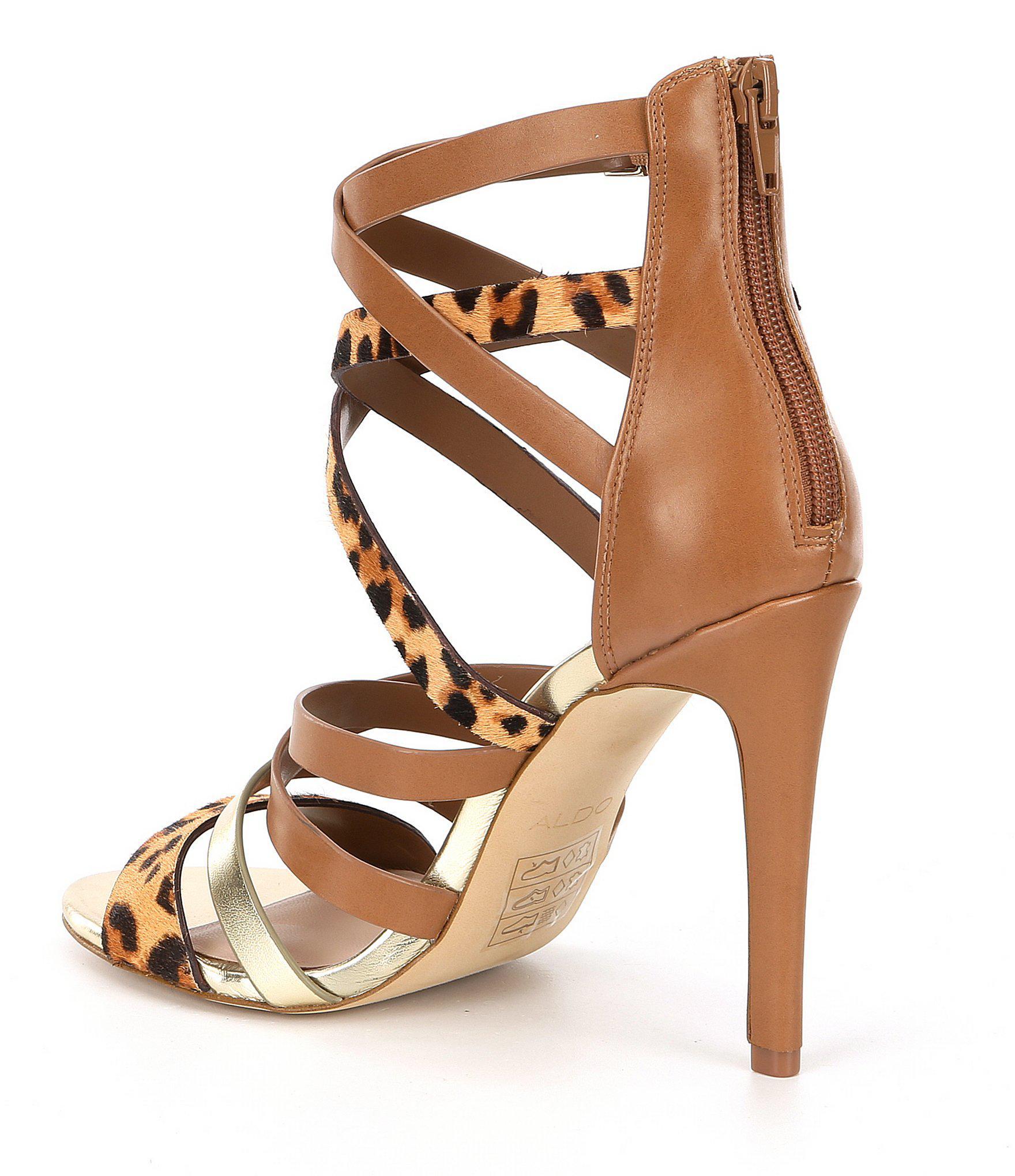 b0b834a3750b Lyst - ALDO Valecia Leopard Print Caged Dress Sandals in Brown