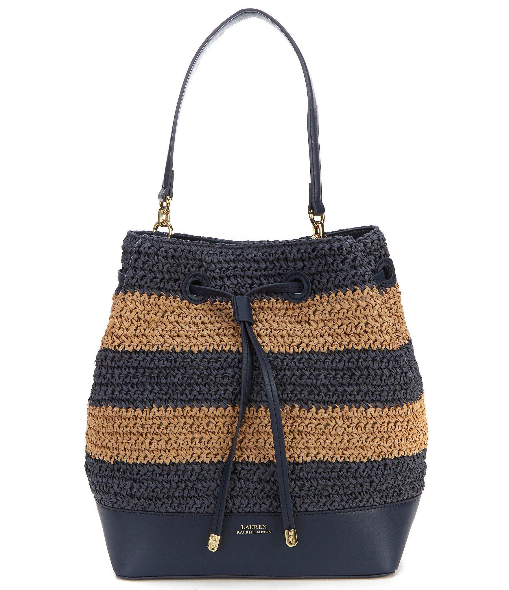 Lauren by Ralph Lauren. Women s Blue Straw Debby Medium Drawstring Bucket  Bag a277f87d2f9c1