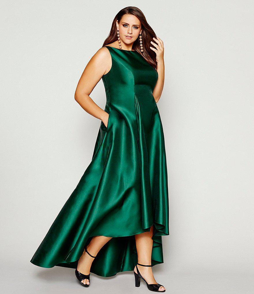 Lyst - Adrianna Papell Plus Sleeveless High-low Ball Gown in Green