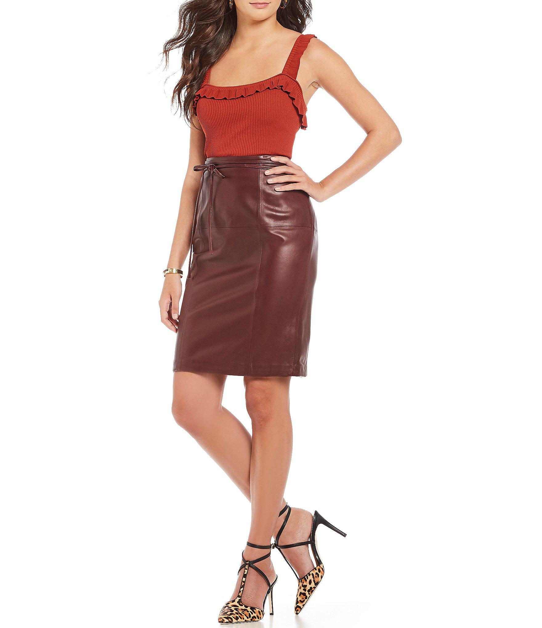 2a869c6eb Antonio Melani Luxury Collection Leather Aria Skirt in Red - Lyst