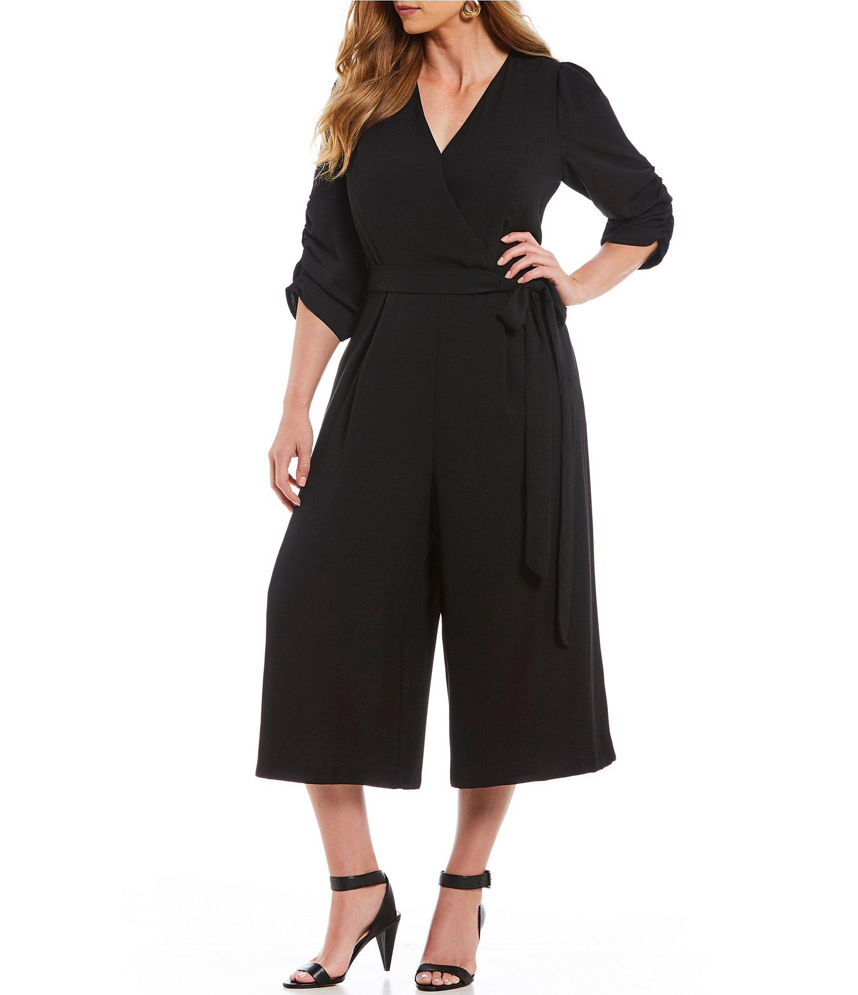 Lyst Eliza J Plus Size Surplice Ruched Sleeve Wide Leg Jumpsuit In