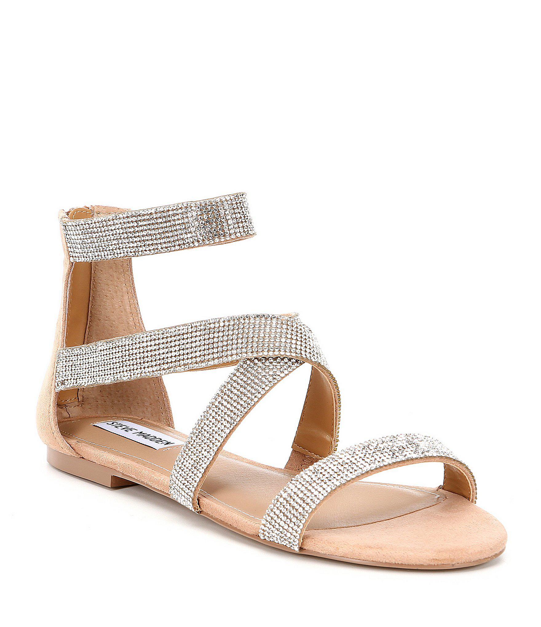 b3a05c0588e4a5 Lyst - Steve Madden Trinity Rhinestone Gladiator Sandals
