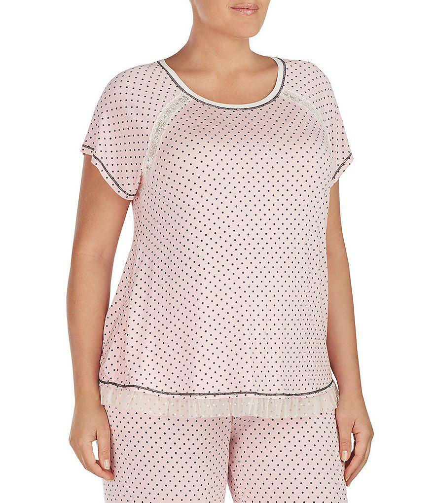 321541f3b61 Lyst - Kensie Plus Dotted Jersey Sleep Top in Pink