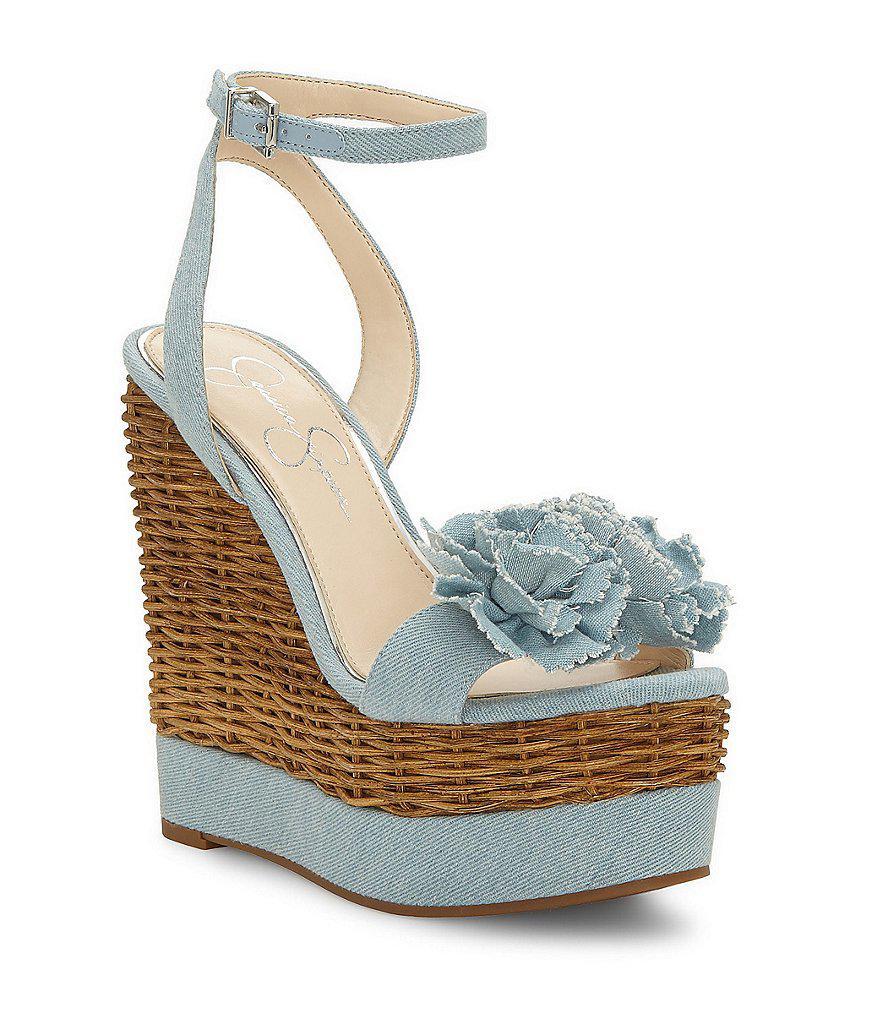 a4c009abc74 Lyst - Jessica Simpson Pressa Denim Chiffon Flower Wedge Sandals in Blue