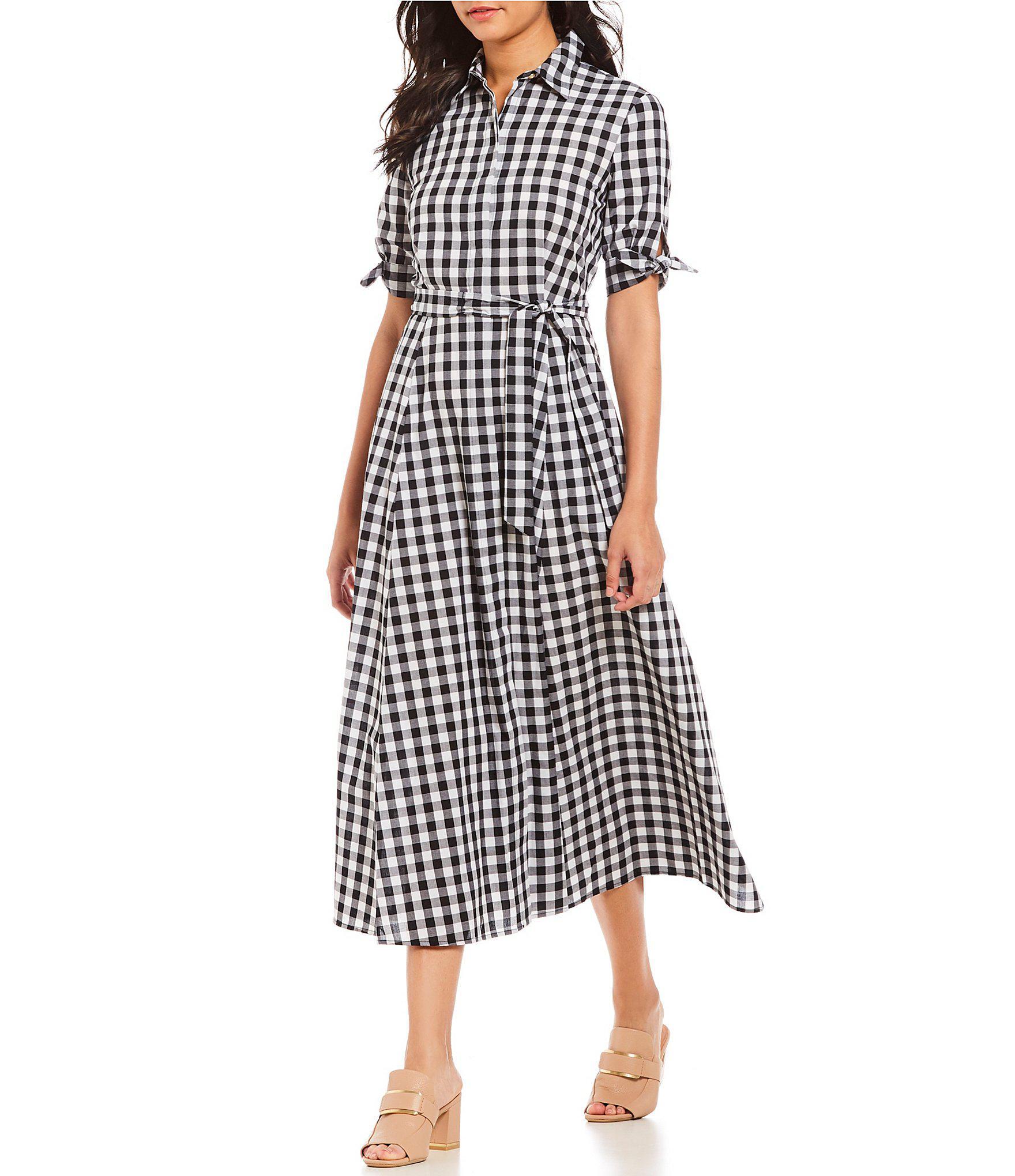 c70bf827f4fd2 Lyst - Calvin Klein Gingham Belted Midi Length Shirt Dress in Black