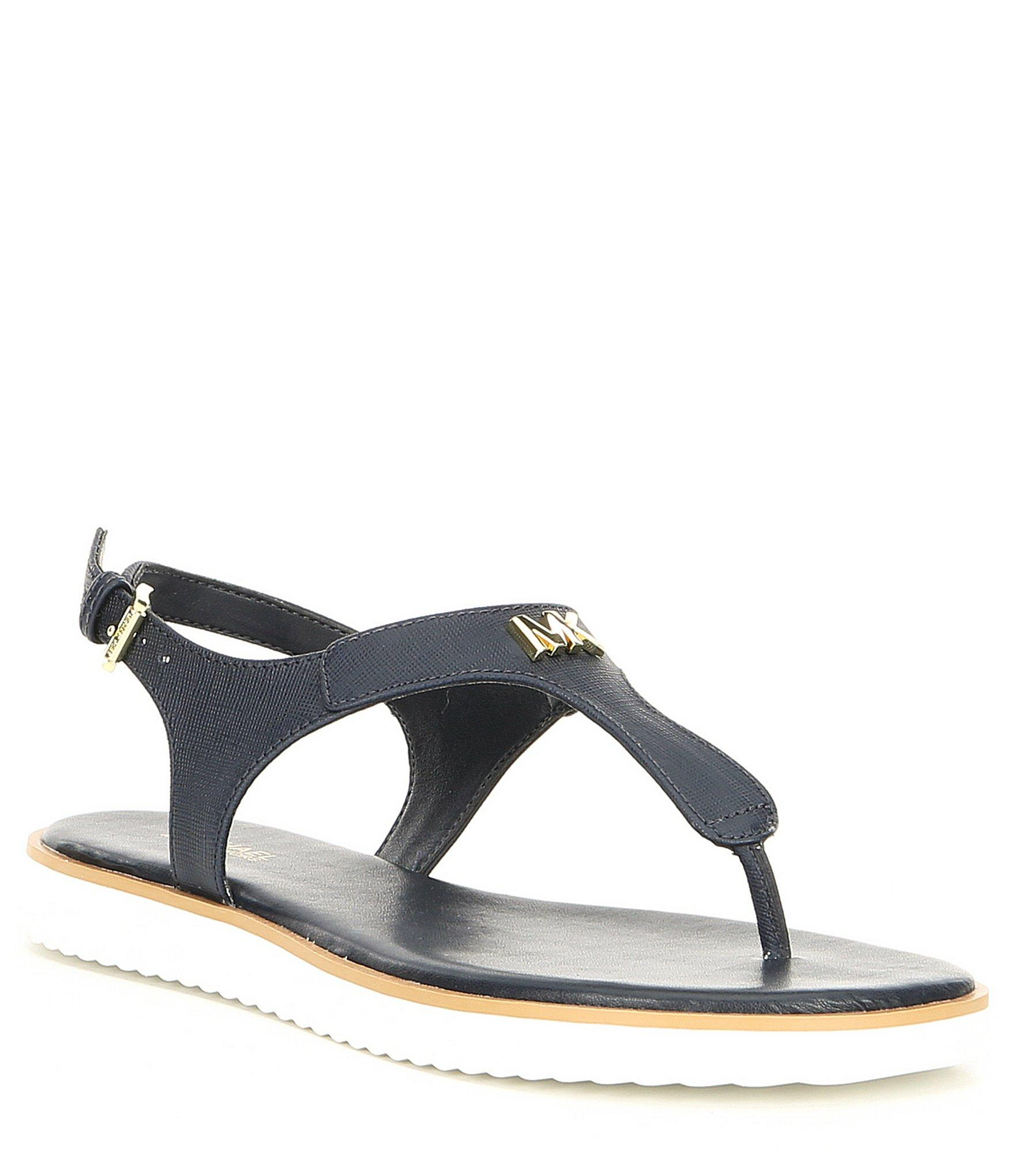 79e1244f0d6 Lyst - MICHAEL Michael Kors Brady Saffiano Leather Thong Sandals in Blue