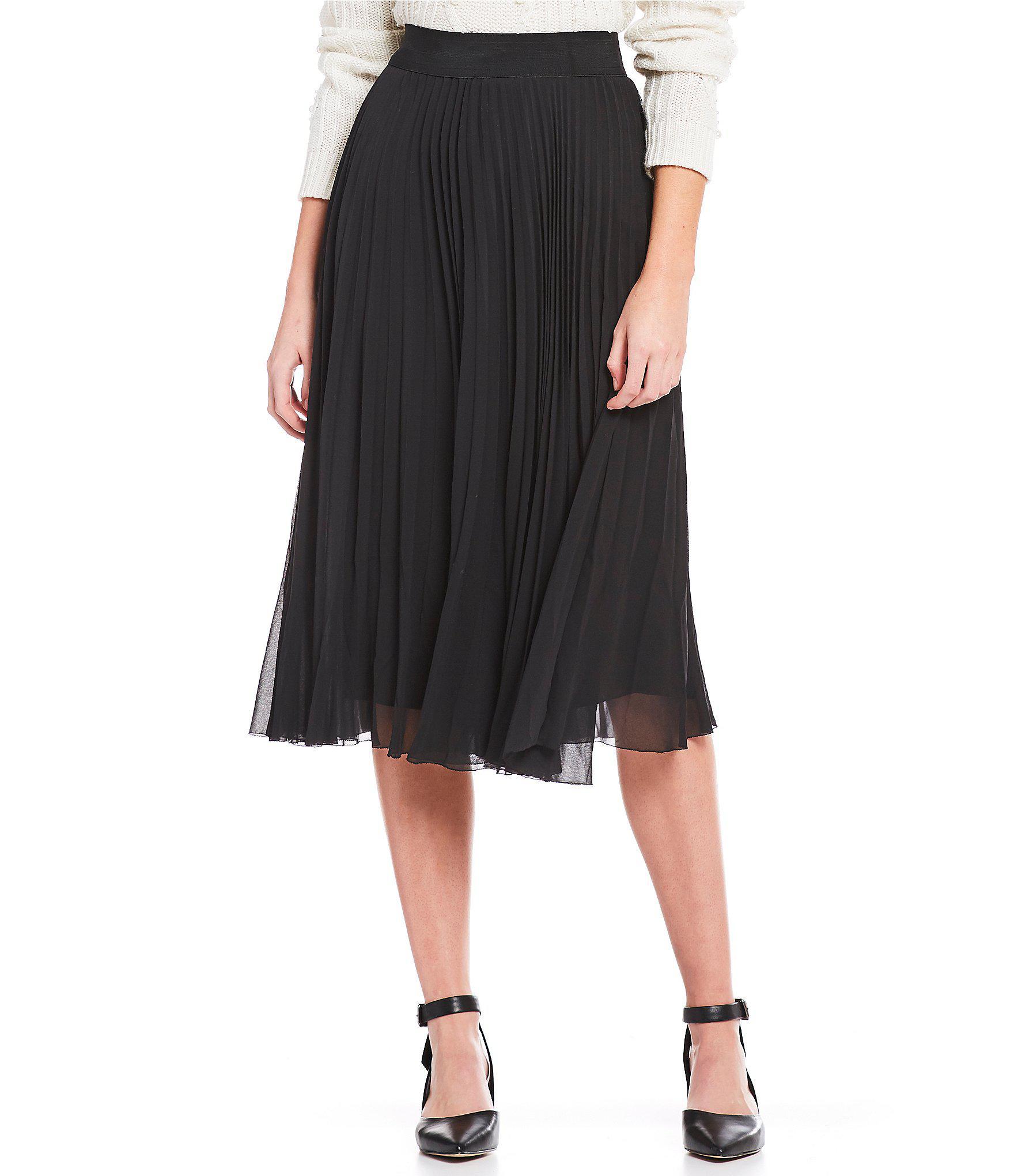 57d0fc54b4 Gianni Bini Anna Pleated Midi Skirt in Black - Lyst