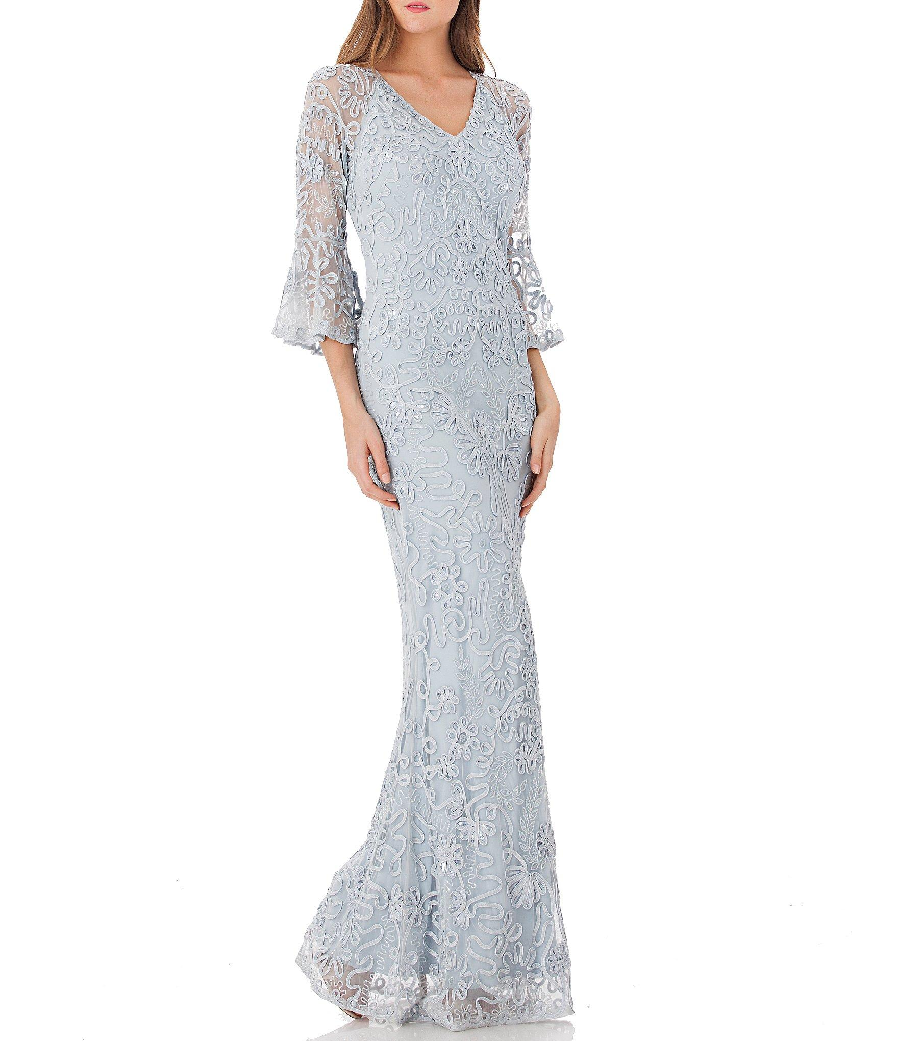 4ea77698 JS Collections - Blue Sequin Embroidered Soutache V-neck Bell Sleeve Sheath  Gown - Lyst. View fullscreen