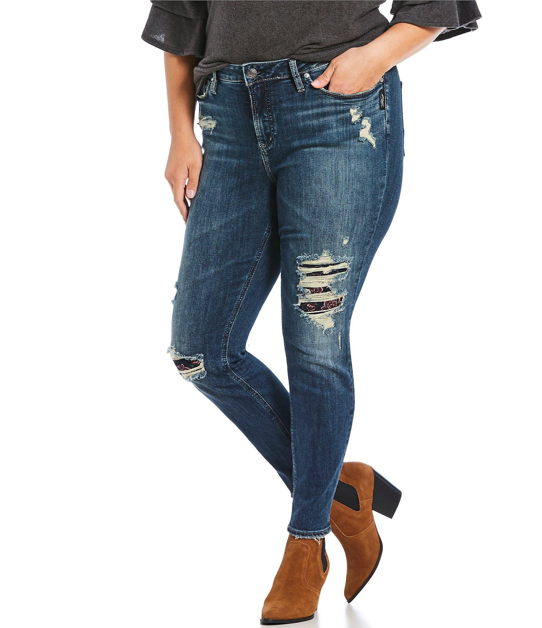 cd4e5366923 Silver Jeans Co. Plus Size Avery Distressed High Rise Skinny Ankle ...