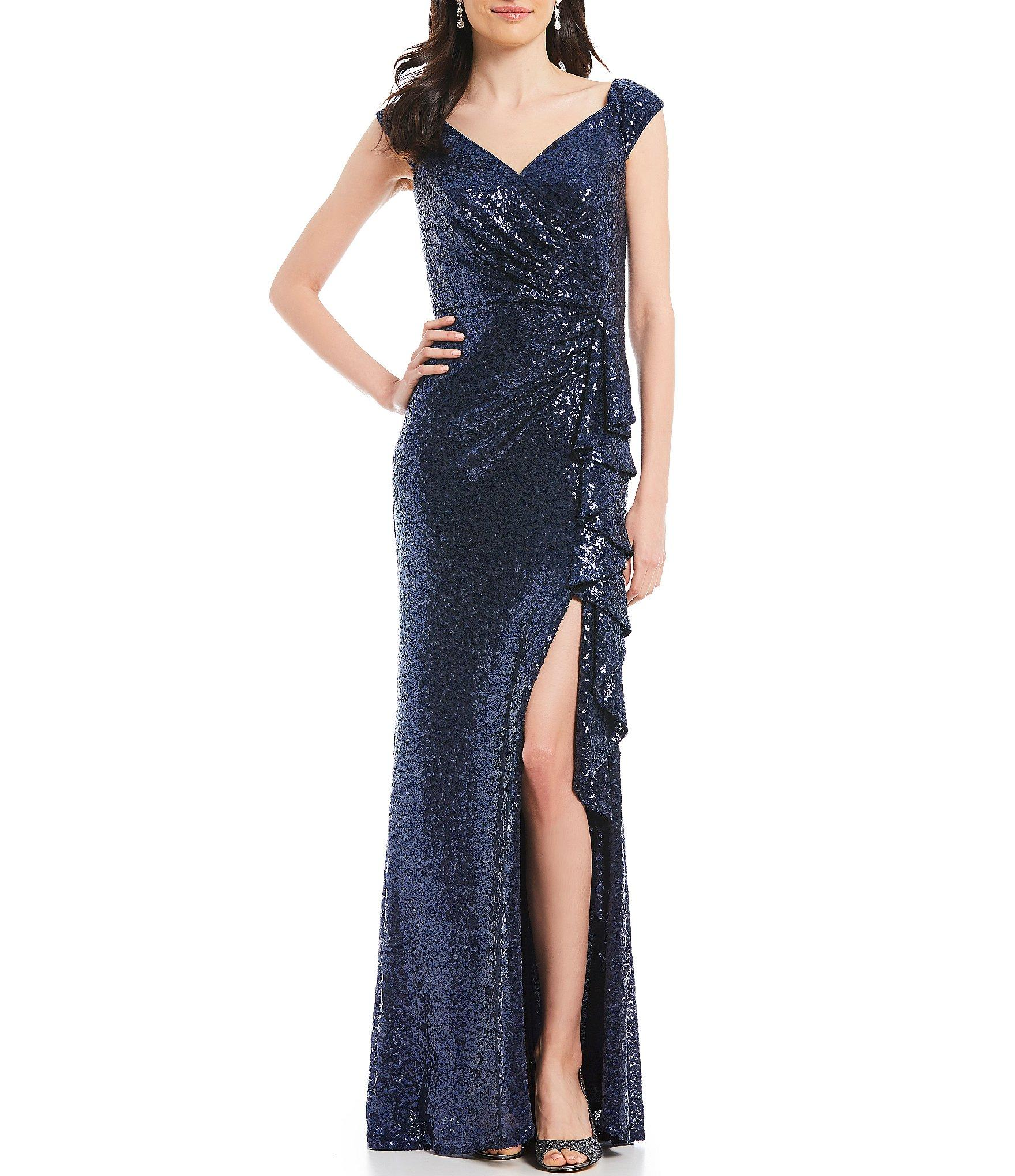 c27afe6c078 Lyst - Tadashi Shoji Off-the-shoulder Sequin Gown in Blue