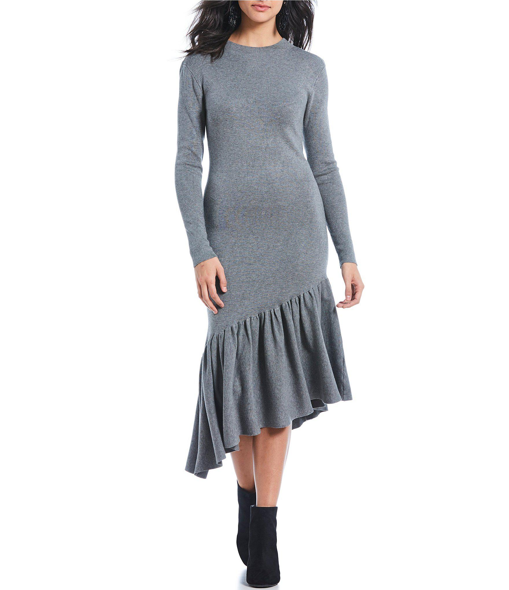 26cbf4caf0f Lyst - Gianni Bini Rosalee Knit Asymmetrical Hem Sweater Midi Dress ...