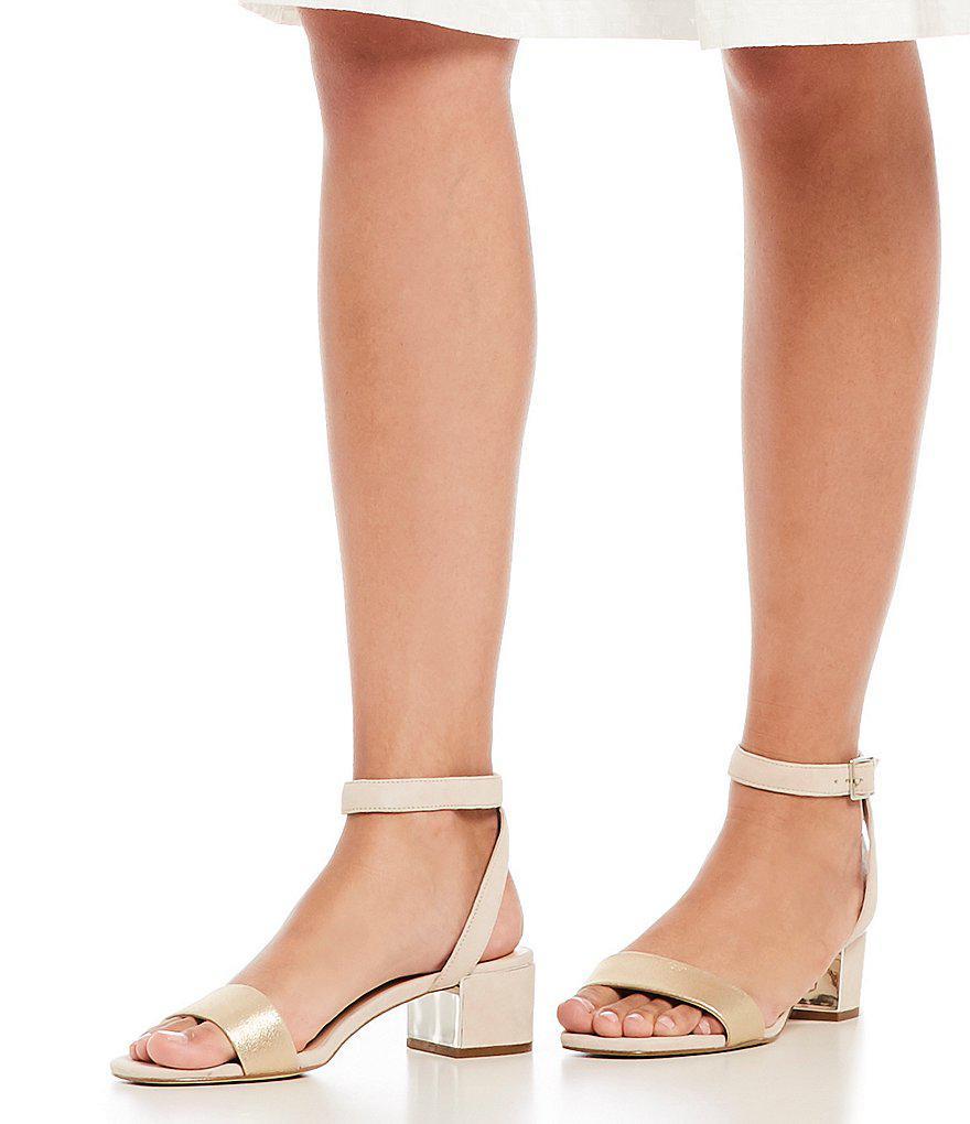 62be042c17d Lyst - Karl Lagerfeld Tyne Suede Ankle Strap Block Heel Dress Sandals