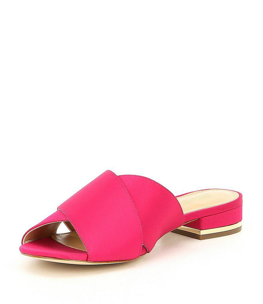 MICHAEL Michael Kors Shelly Satin Flat Block Heel Sandals 3vNx1f