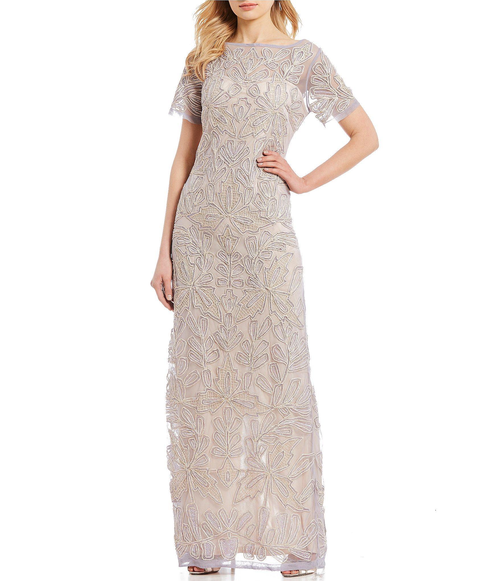 c9a6111d54dcf Lyst - JS Collections Beaded Mesh Soutache Gown