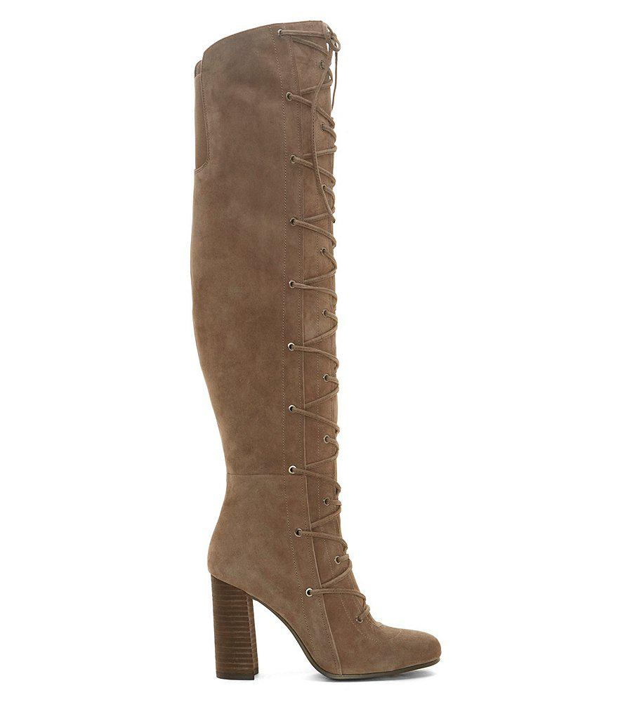 bedeab36f05 Lyst - Vince Camuto Thanta Suede Over The Knee Lace Up Boots in Black