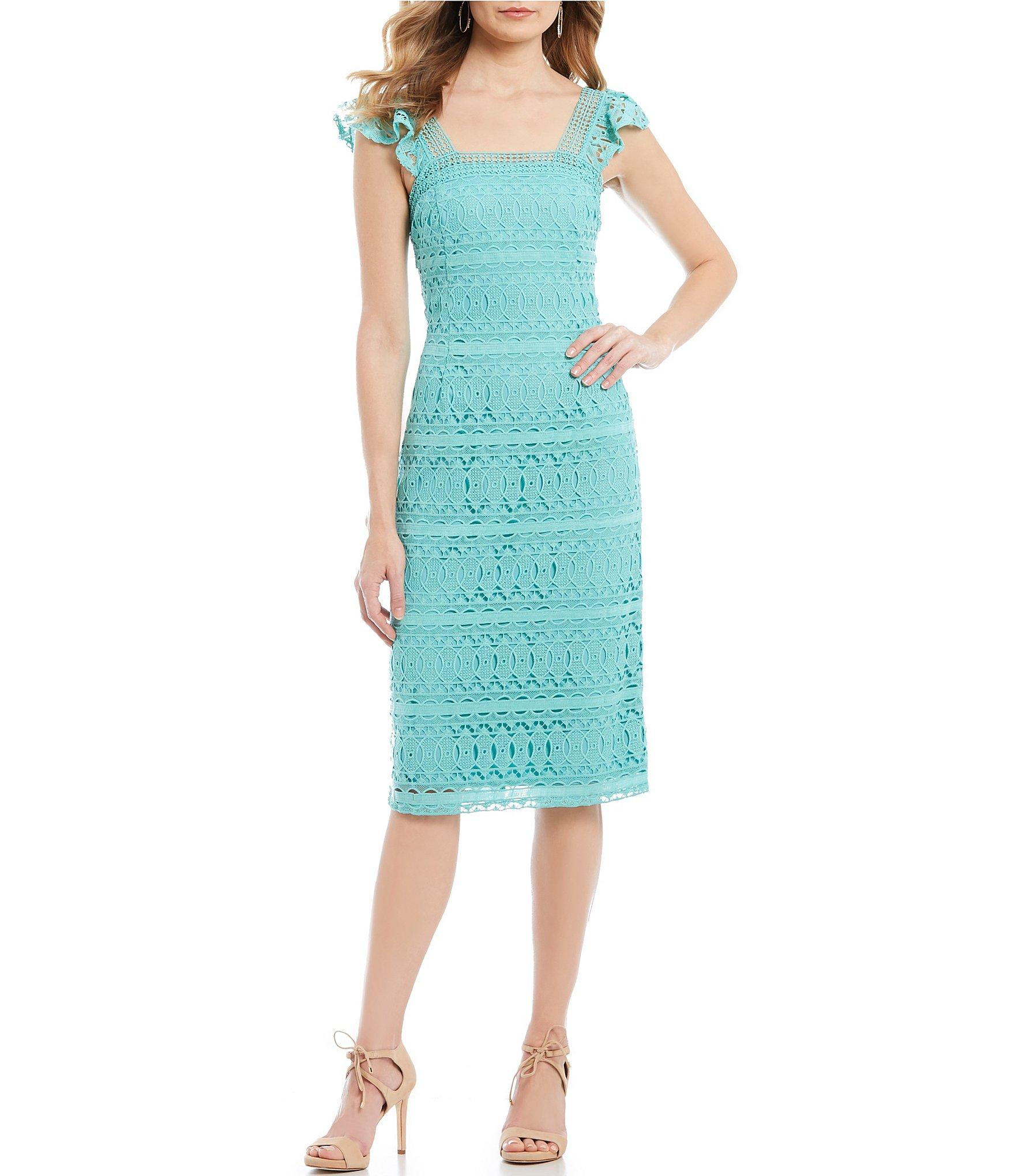 a8627453351 Antonio Melani. Women s Blue Cameron Square Neck Flutter Cap Sleeve Midi  Dress