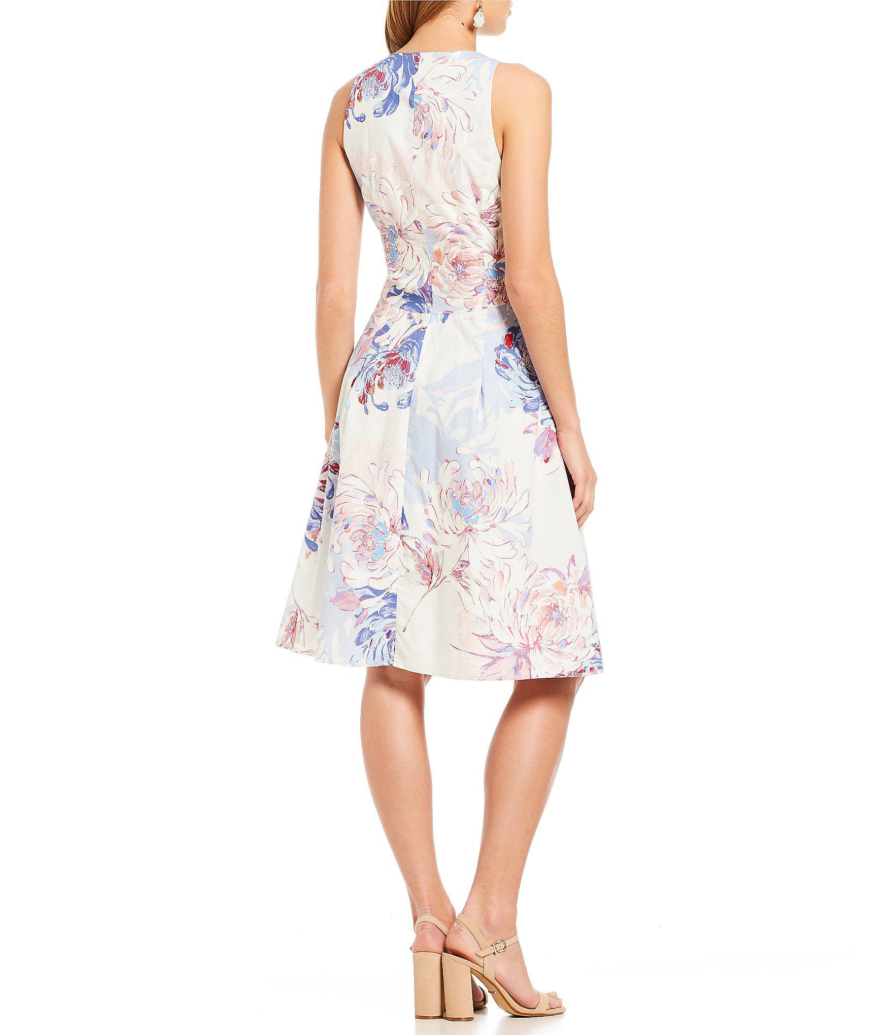 439a996b31 Gianni Bini Erika Poplin Floral Print Midi Dress in Blue - Lyst