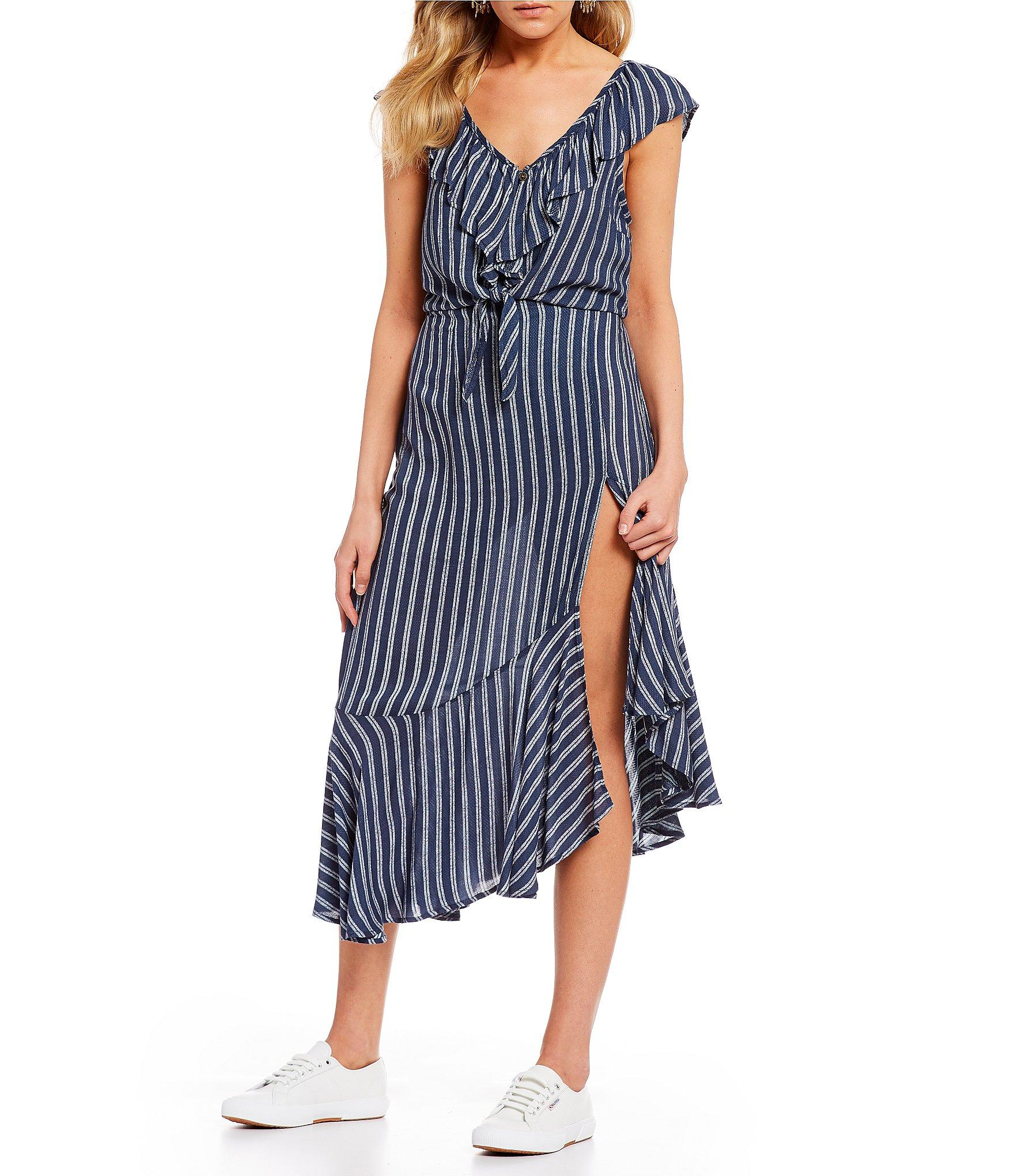 fa1338207 Jolt - Blue Stripe Asymmetrical Hem Skirt - Lyst. View fullscreen