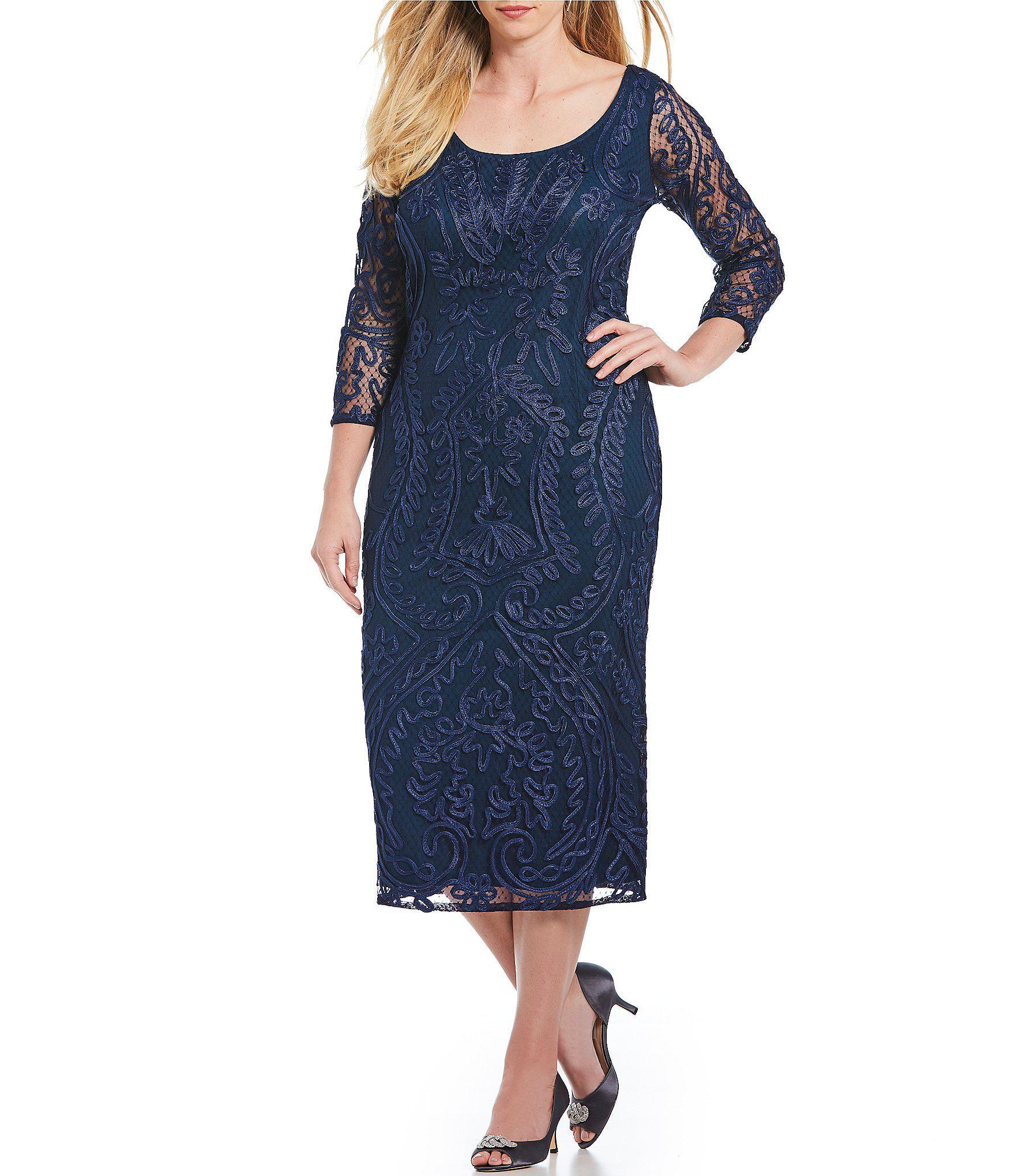 1b2c8677ef1a8 JS Collections. Women s Blue Plus Size Scoop Neck Soutache Sheath Midi Dress