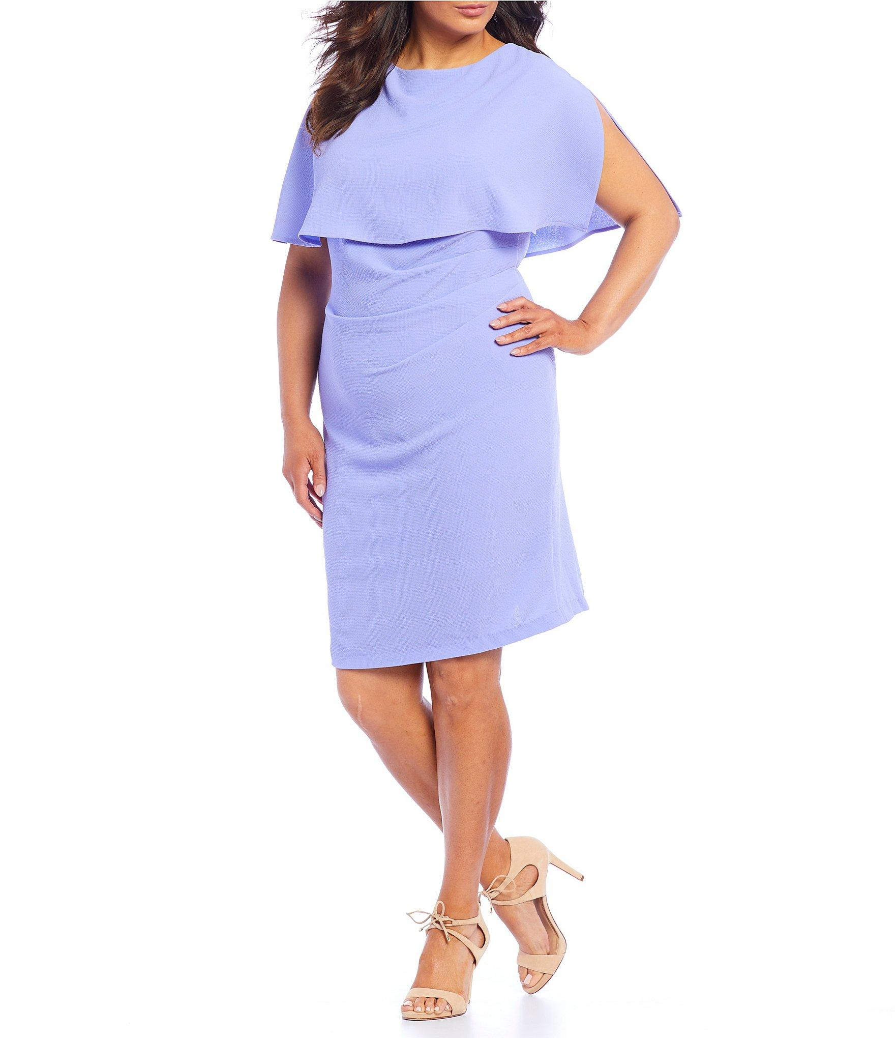 584417fb783 Lyst - Adrianna Papell Plus Size Boat Neck Cape Sheath Dress in Blue