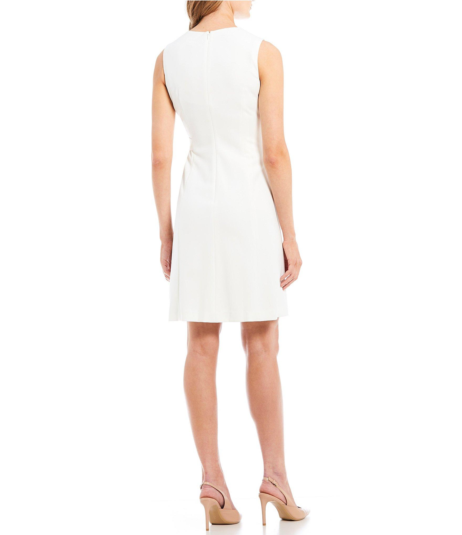 c54ecb94373 Calvin Klein - White V-neck A-line Gold Buckle Shift Dress - Lyst. View  fullscreen