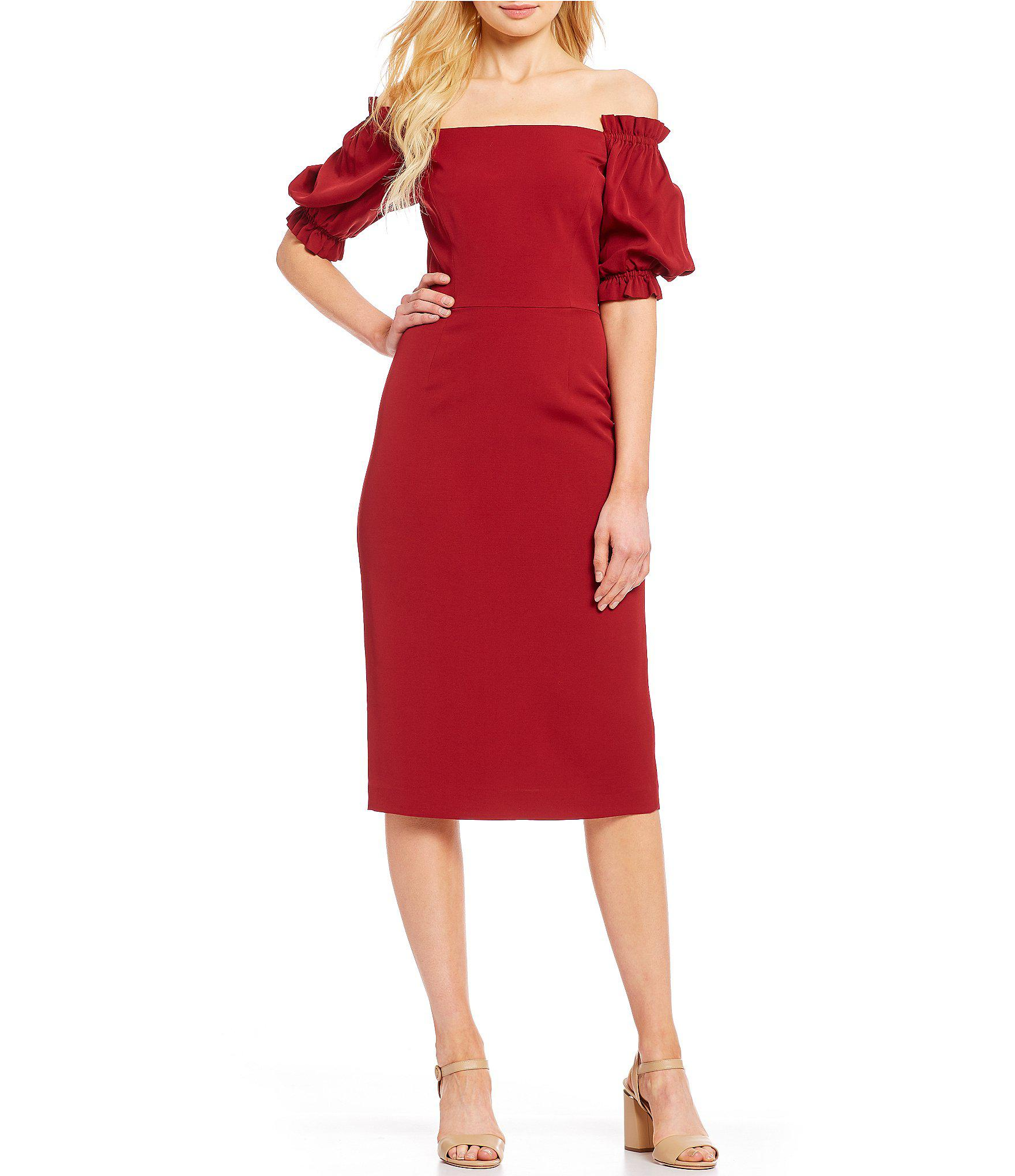 494a0b09a18 Lyst - Antonio Melani Isa Off-the-shoulder Puff Sleeve Midi Length ...