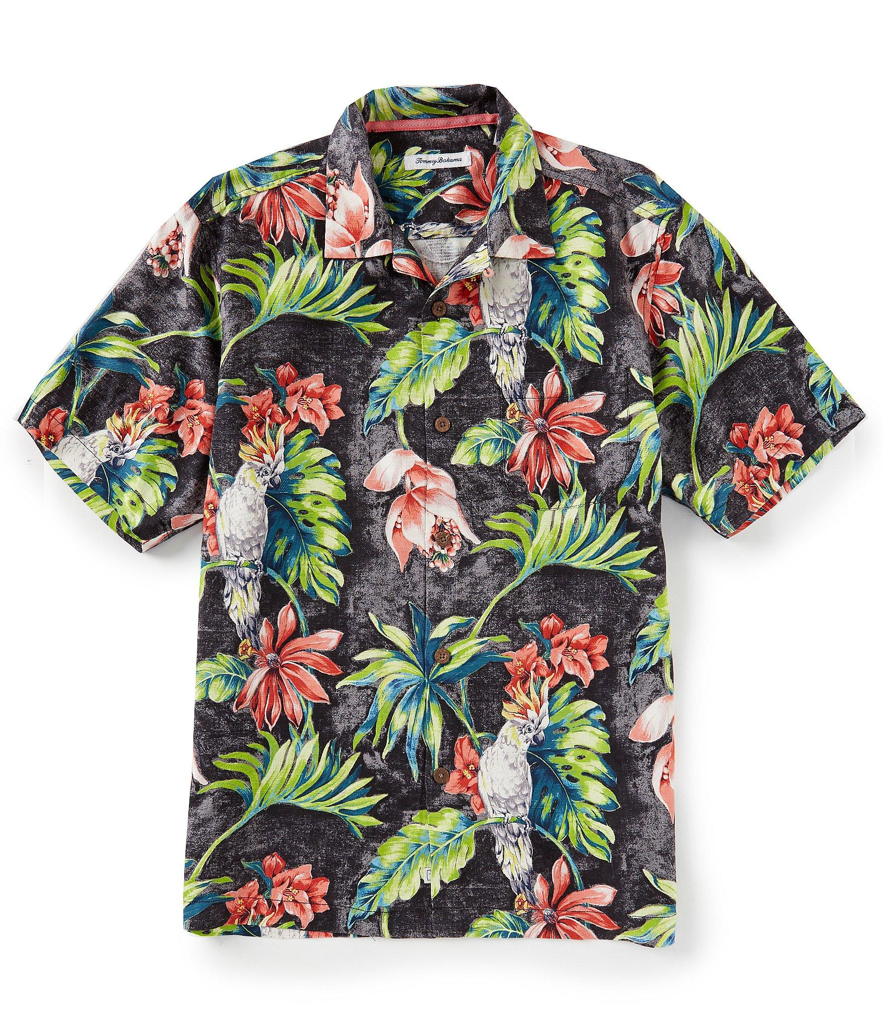 7874c27f Tommy Bahama - Black Tahitian Tweets Silk Jacquard Short-sleeve Woven Shirt  for Men -. View fullscreen