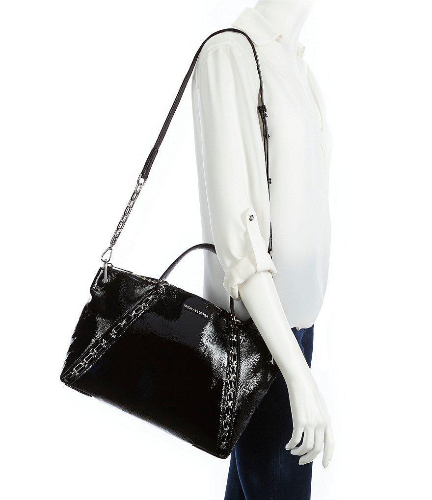 69428fe32187 Lyst - MICHAEL Michael Kors Sadie Patent   Chain Large Satchel in Black