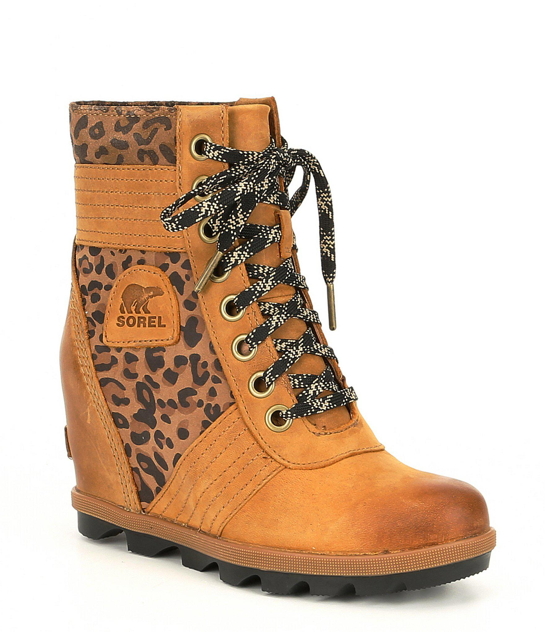 43dbe8be4633 ... best website f4e5a 47a93 Lyst - Sorel Lexie Leather Leopard Wedge in  Brown ...