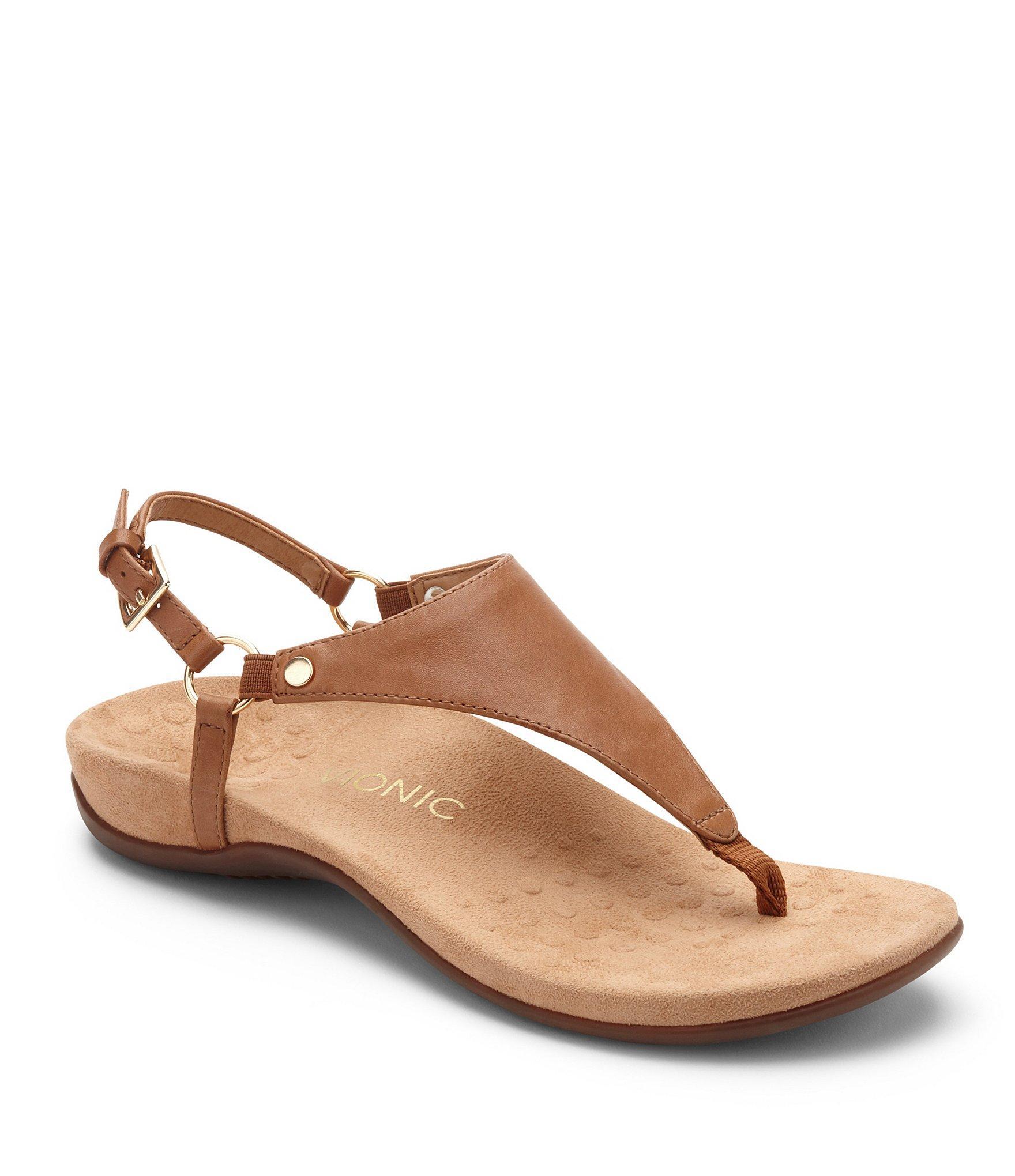 68010b5f0eb1 Lyst - Vionic Kirra Leather Thong Sandals in Brown