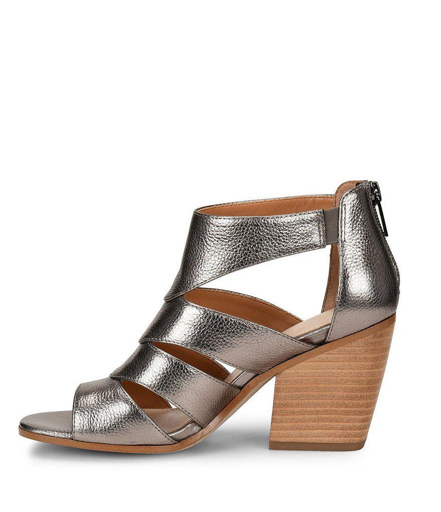 Isola Rona Metallic Leather Block Heel Dress Sandals nfOuCcv