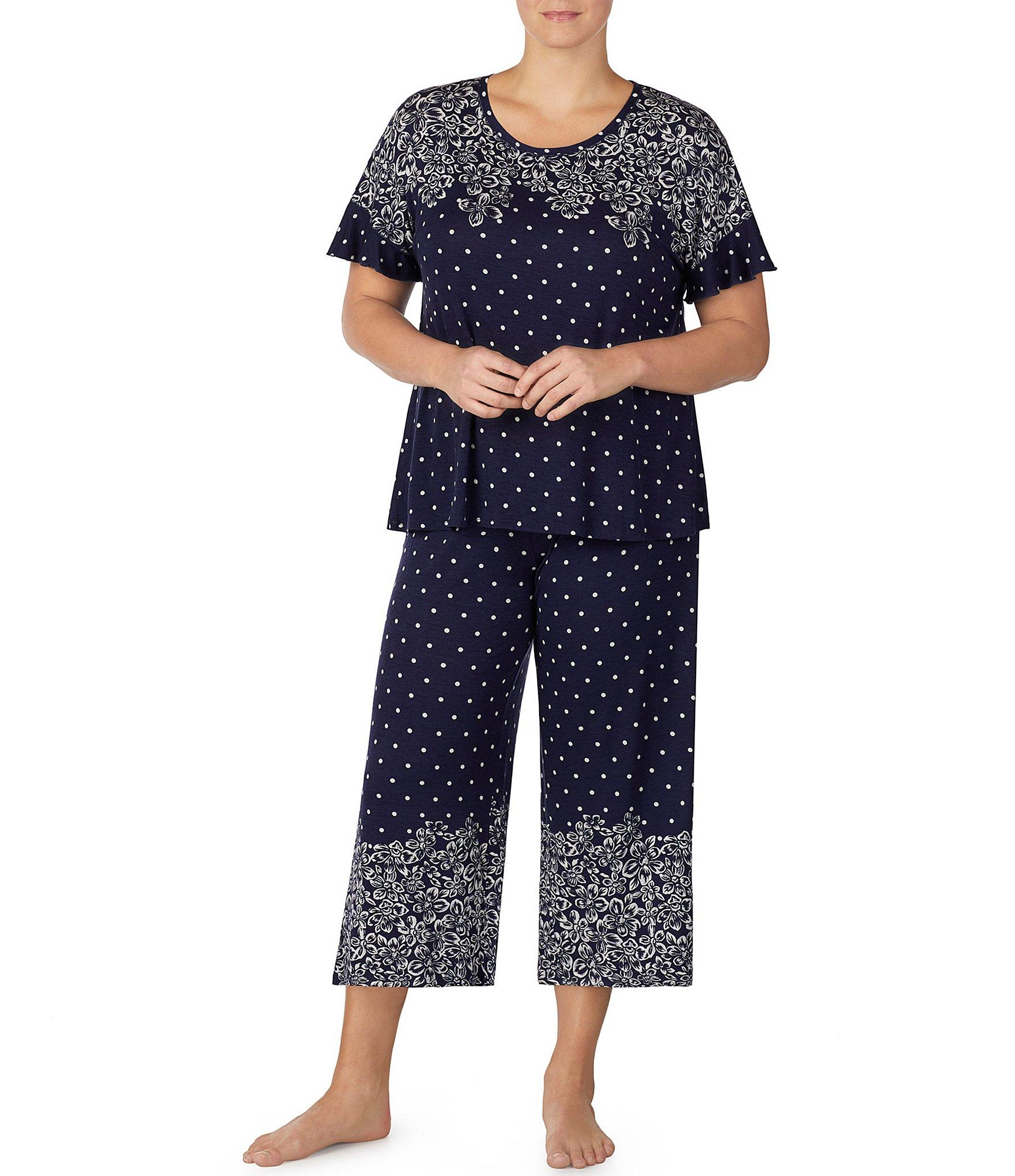 572fecb7e66 Lyst - Kensie Plus Floral   Dot Print Jersey Knit Sleep Top in Blue